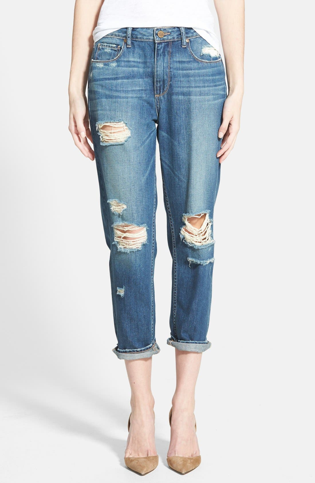 Alternate Image 1 Selected - Paige Denim 'Callie' Crop Boyfriend Jeans (Danica Destructed Blue)