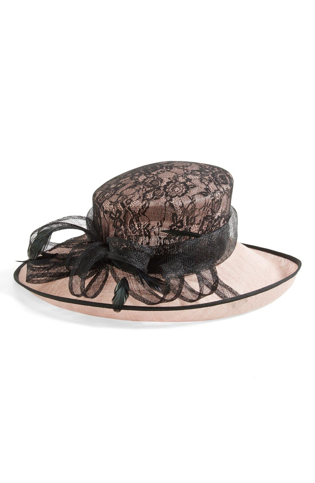 Alternate Image 1 Selected - Nordstrom Sinamay Hat with Lace Cover Crown