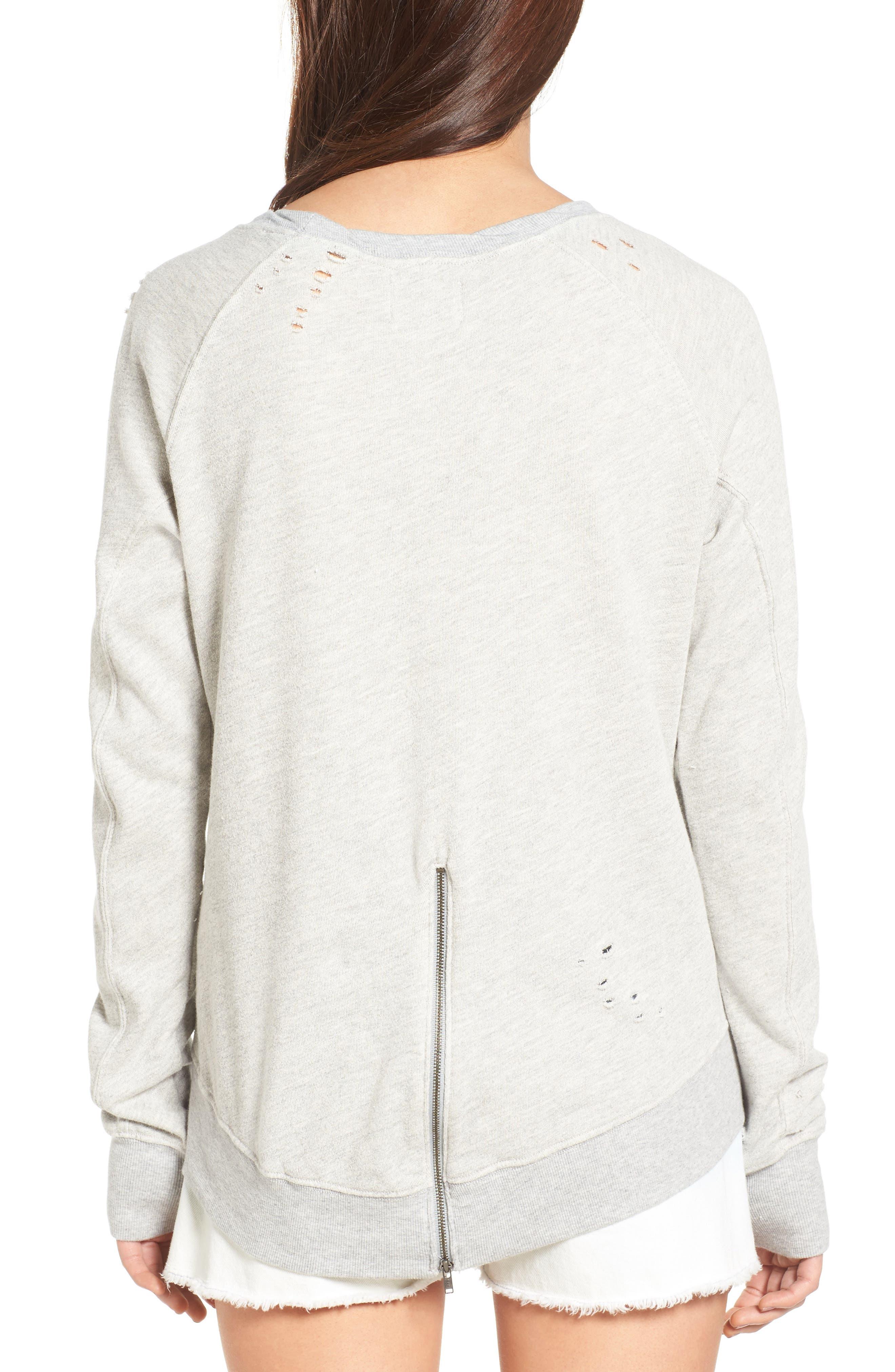 Alternate Image 2  - Pam & Gela 'Annie' Destroyed High/Low Sweatshirt