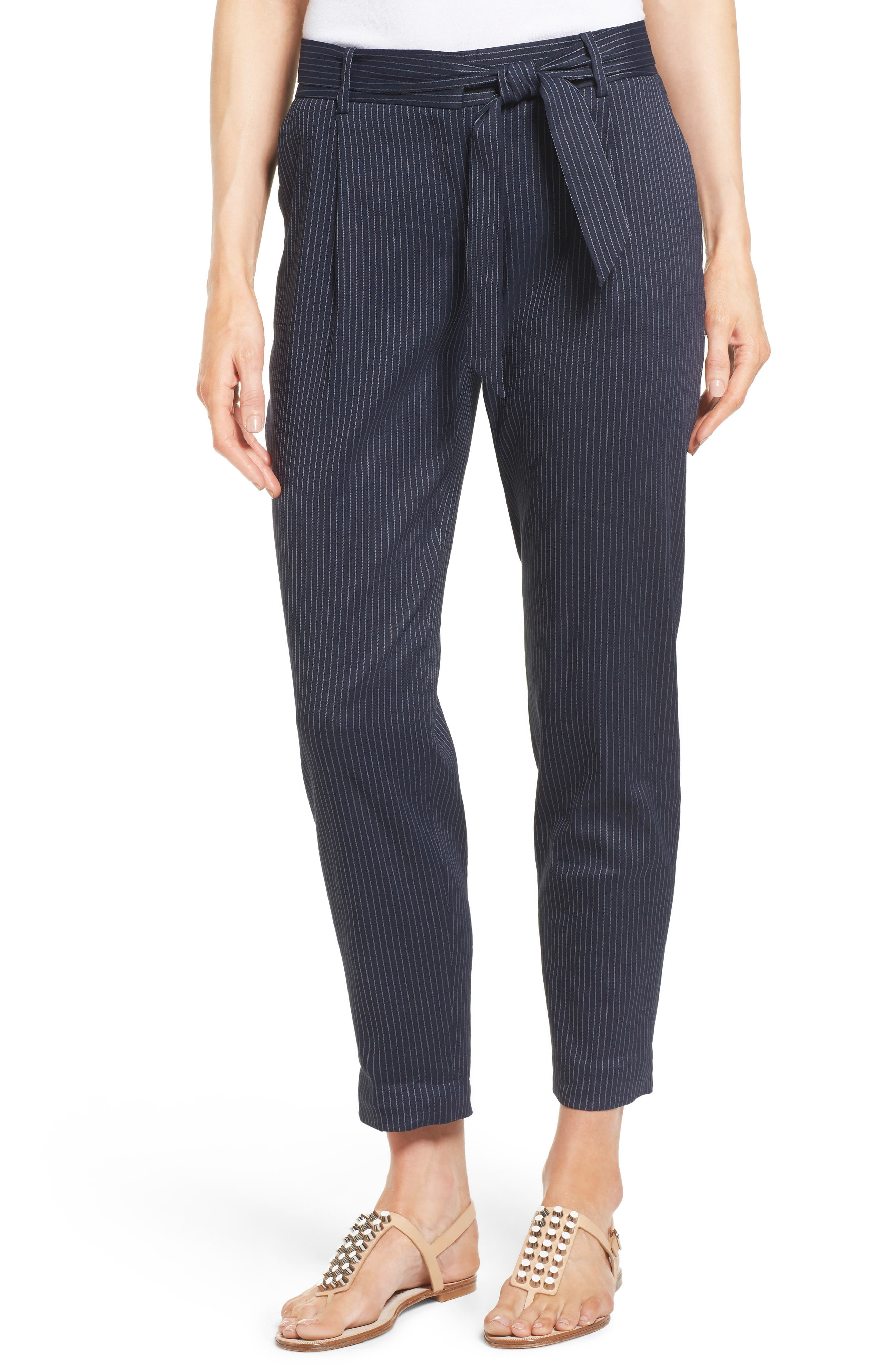Classiques Entier® Belted Pinstripe Ankle Pants