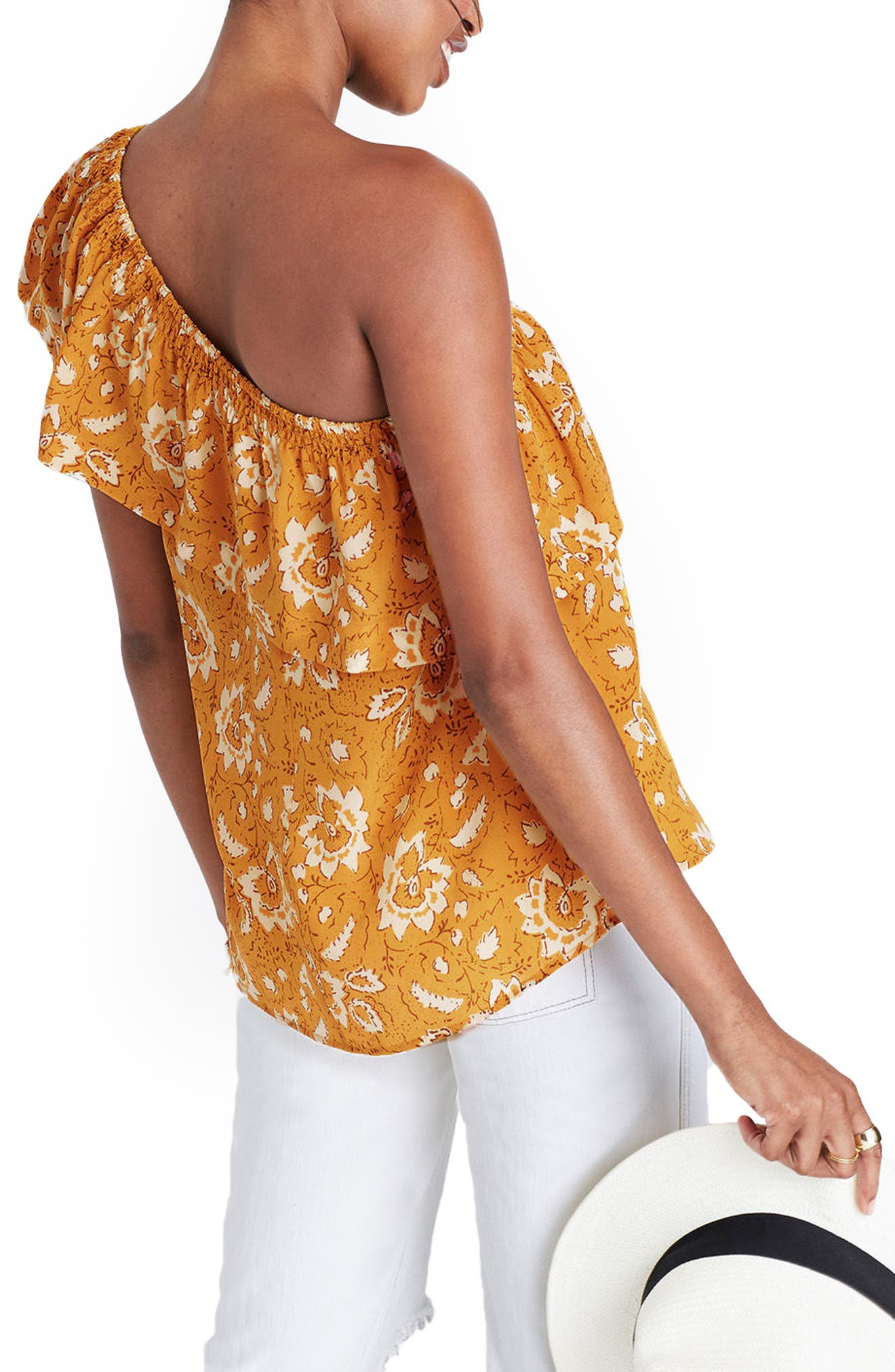 Alternate Image 2  - Madewell Floral One-Shoulder Silk Tank