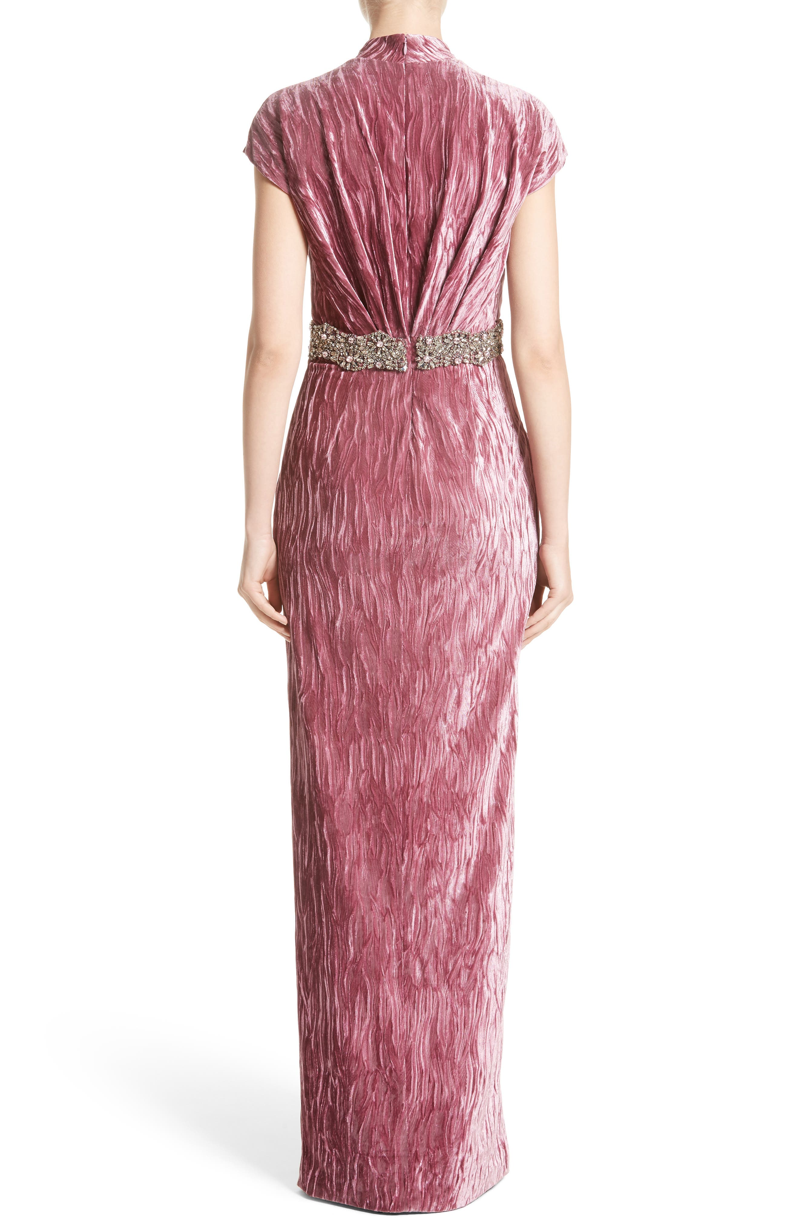 Alternate Image 2  - Badgley Mischka Couture Beaded Belt Faux Wrap Gown (Nordstrom Exclusive)