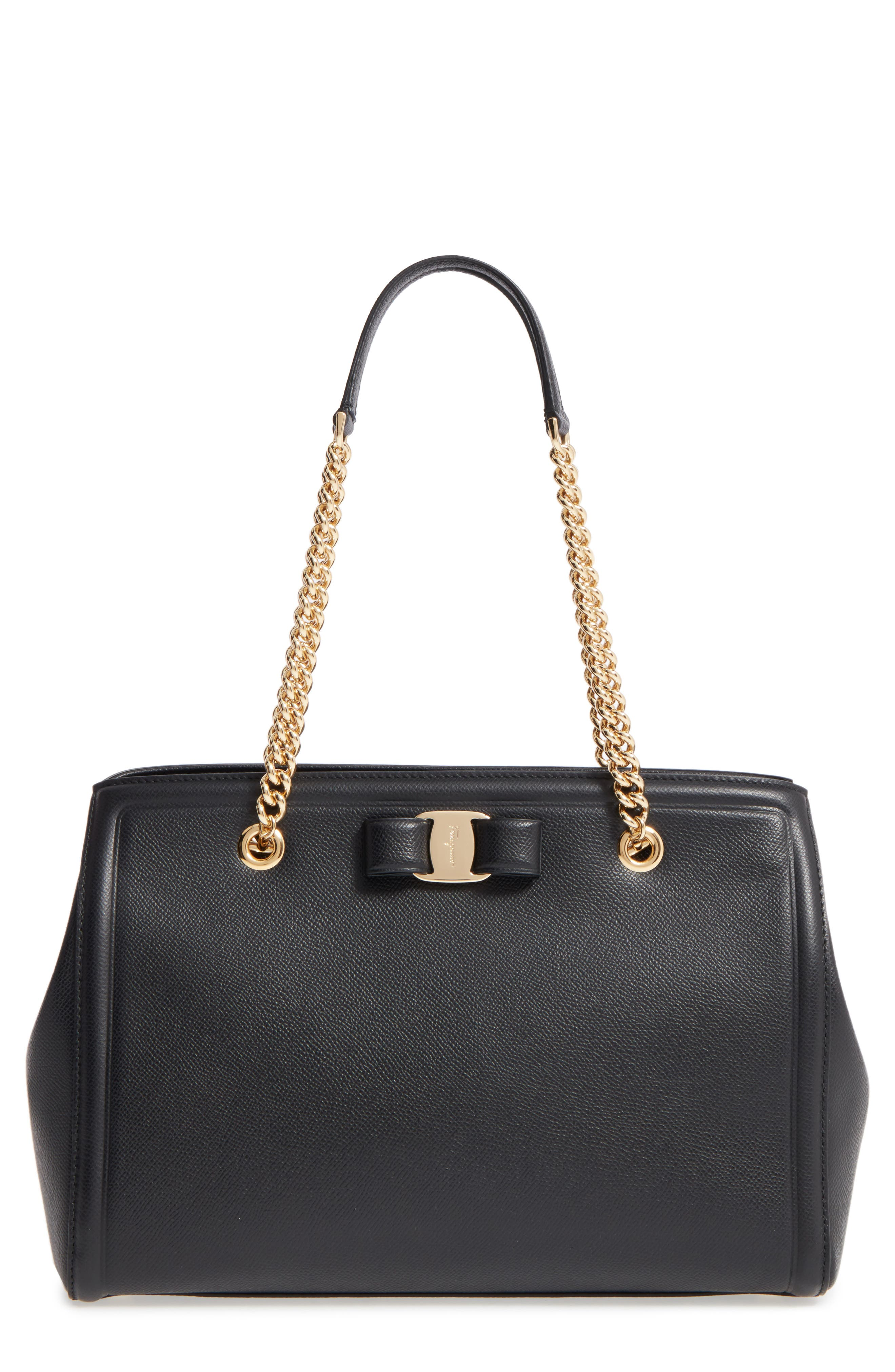 Salvatore Ferragamo Grained Leather Bow Tote