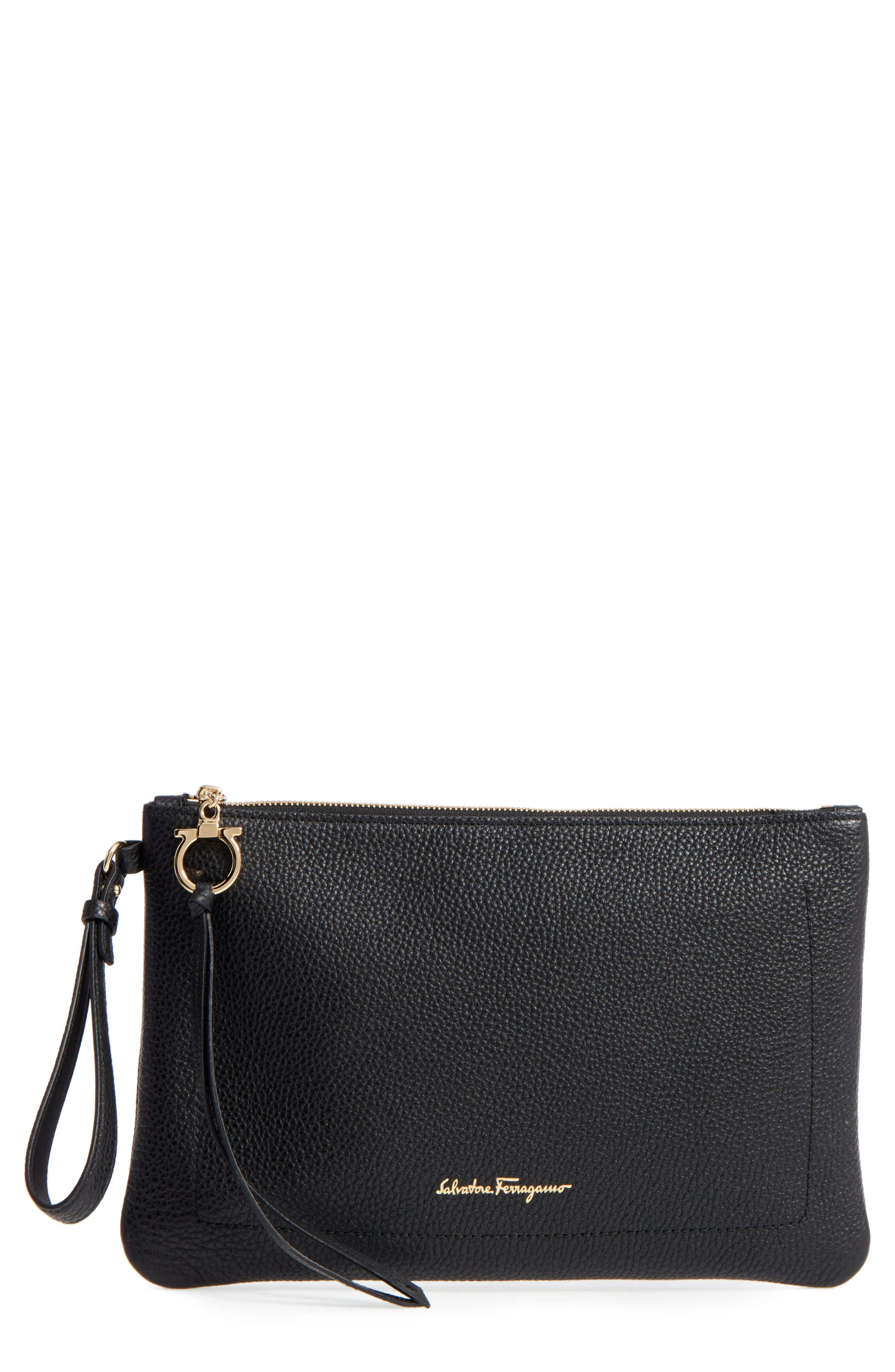 Salvatore Ferragamo Large Pebbled Leather Wristlet Clutch