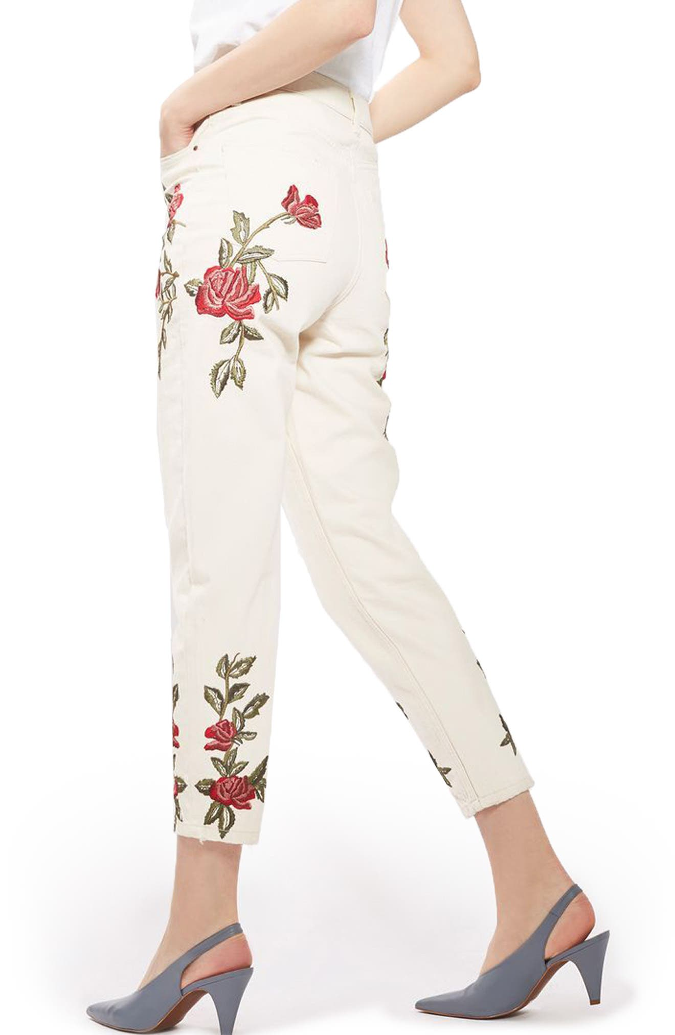 Alternate Image 1 Selected - Topshop Rose Embroidered Mom Jeans