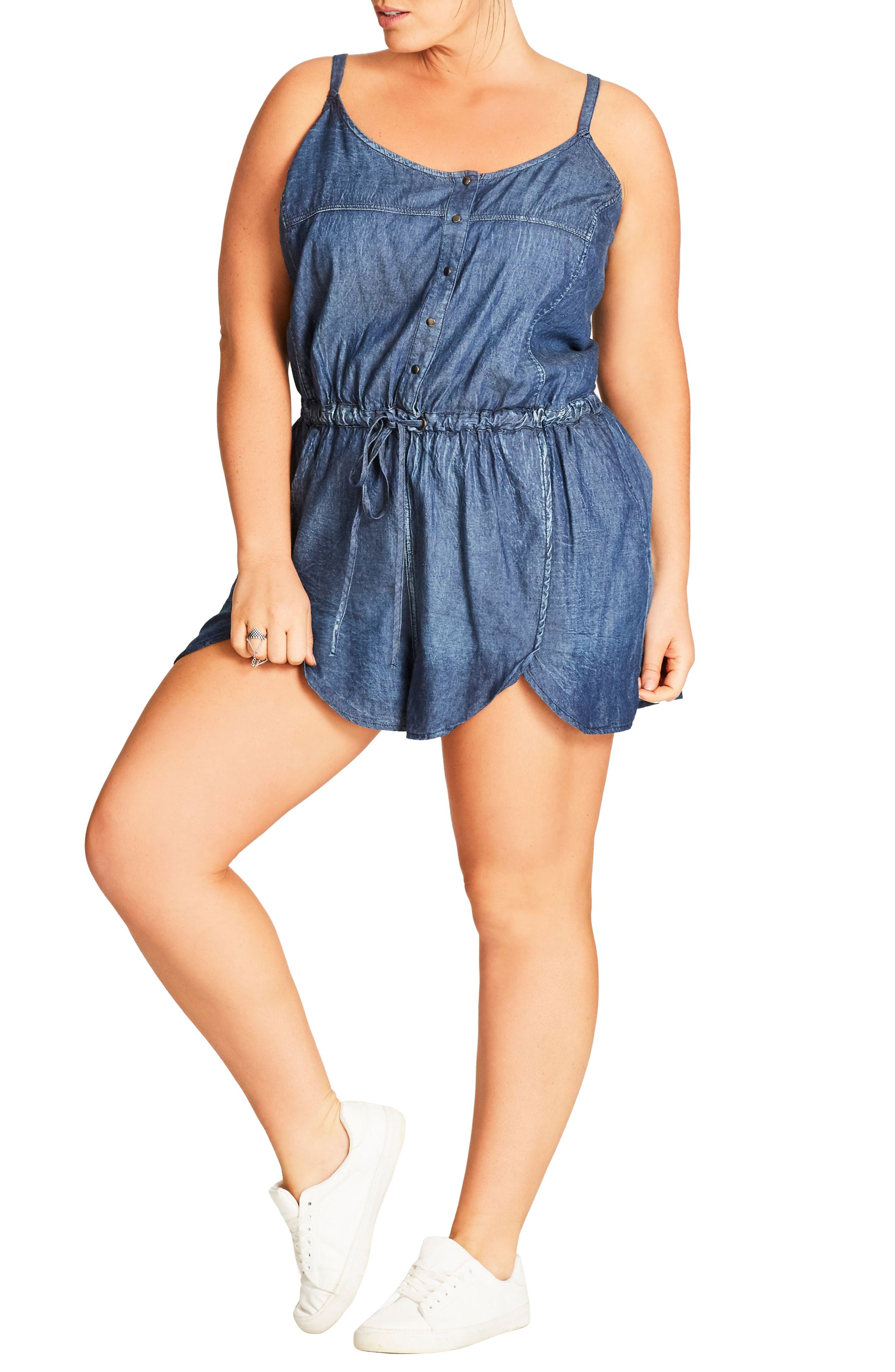 Alternate Image 1 Selected - City Chic Chambray Romper (Plus Size)