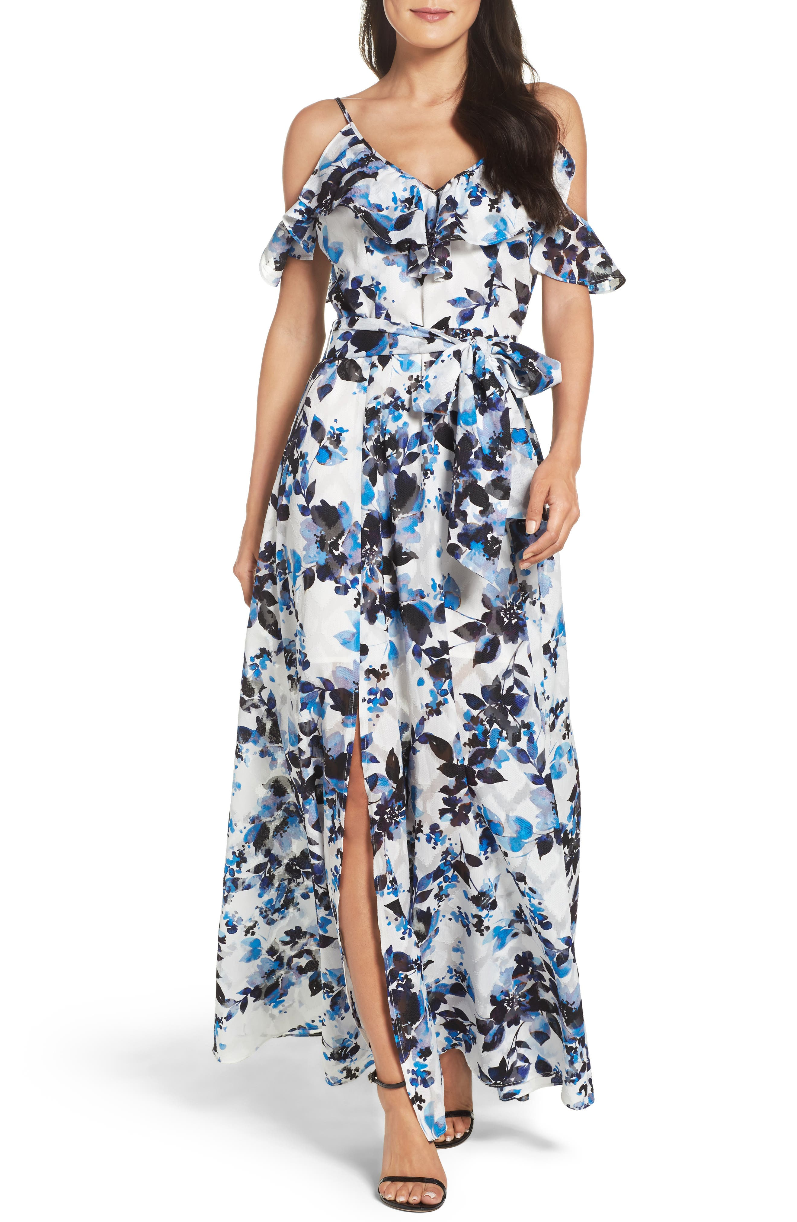 Eliza J Cold Shoulder Maxi Dress (Regular & Petite)