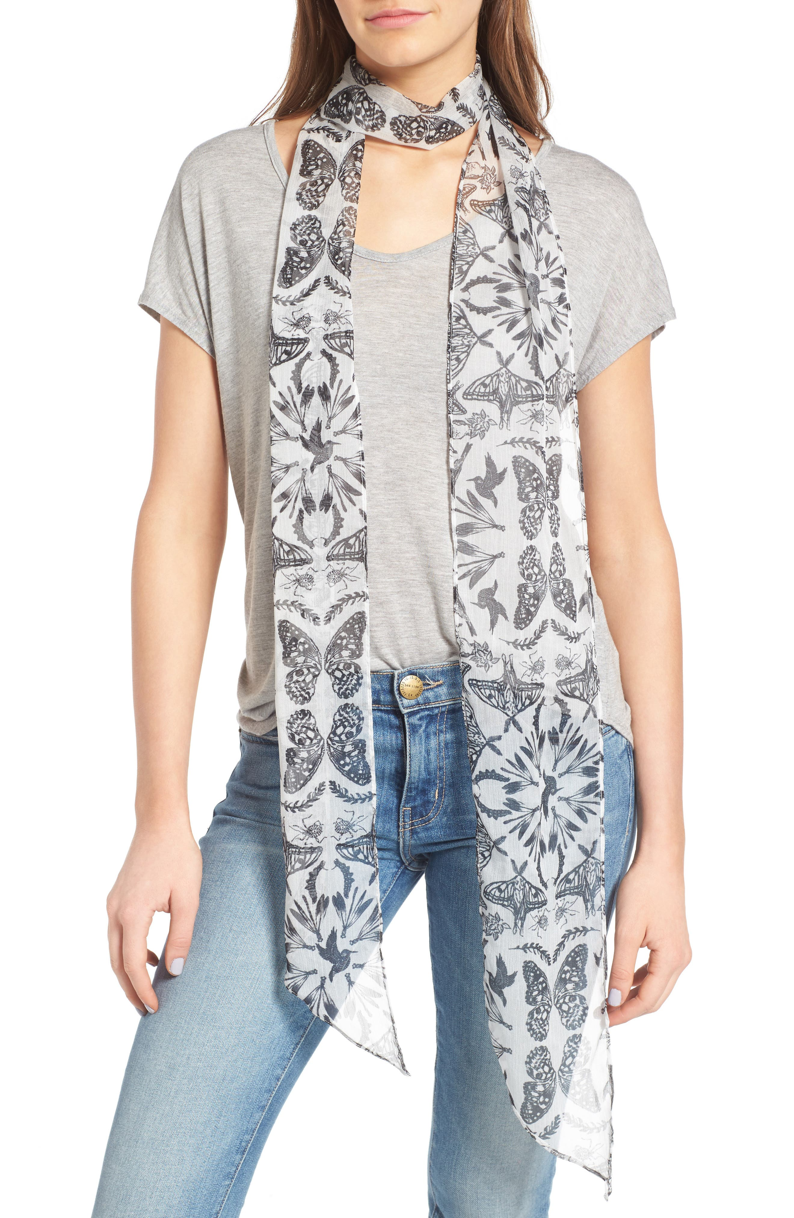 Hinge Whimsical Wings Skinny Scarf