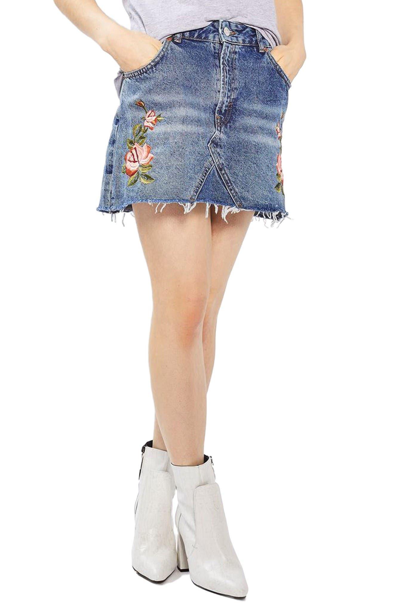 Main Image - Topshop Rose Denim Miniskirt (Petite)