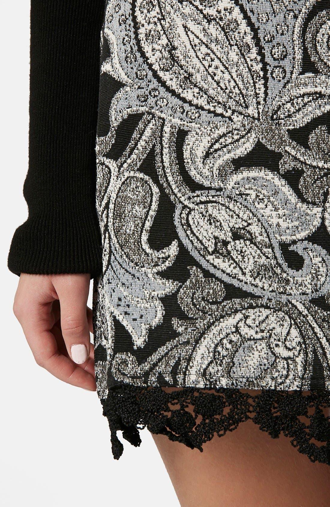 Alternate Image 4  - Topshop Jacquard Paisley Miniskirt