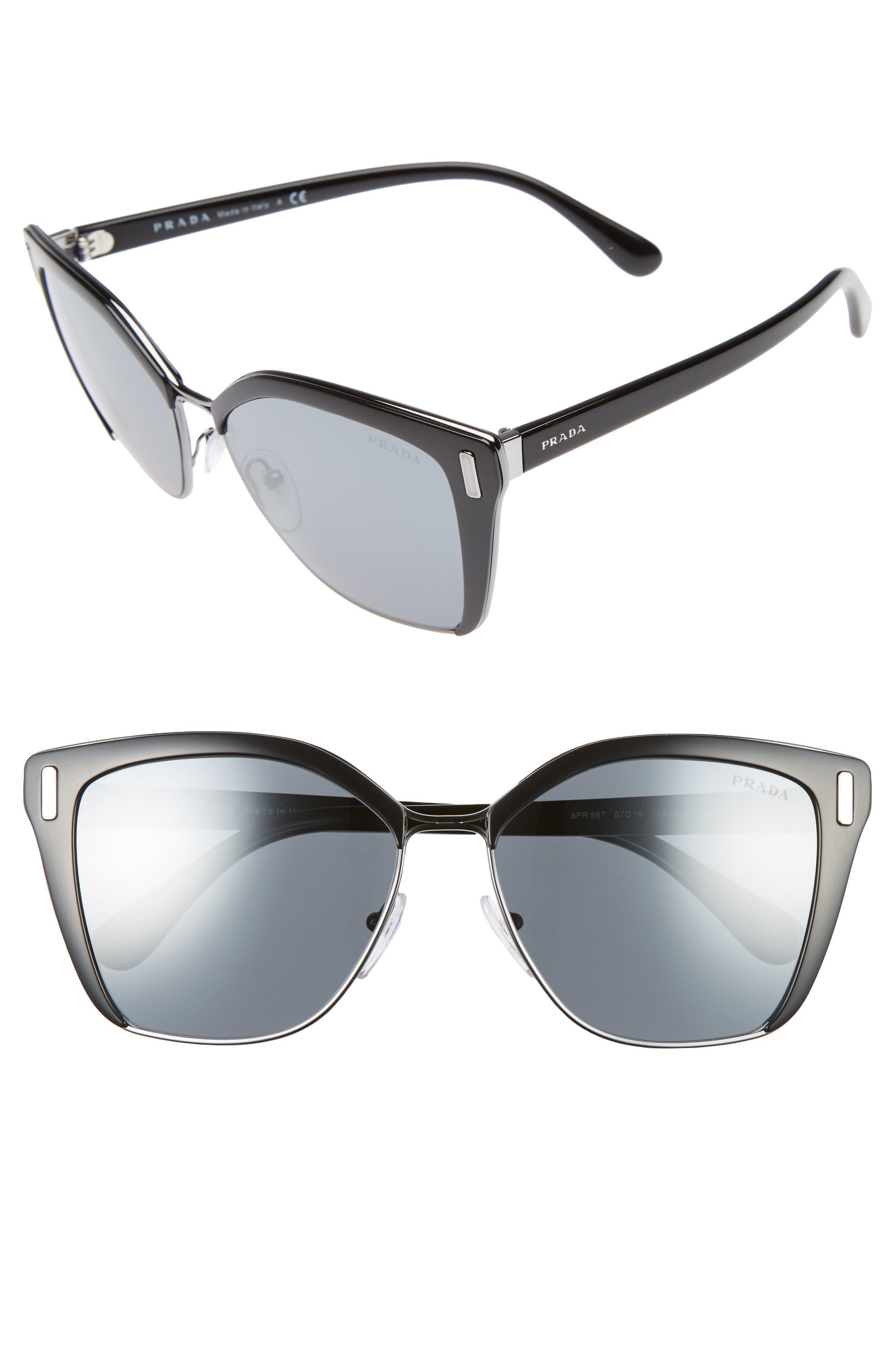 Prada 57mm Mirrored Geometric Sunglasses