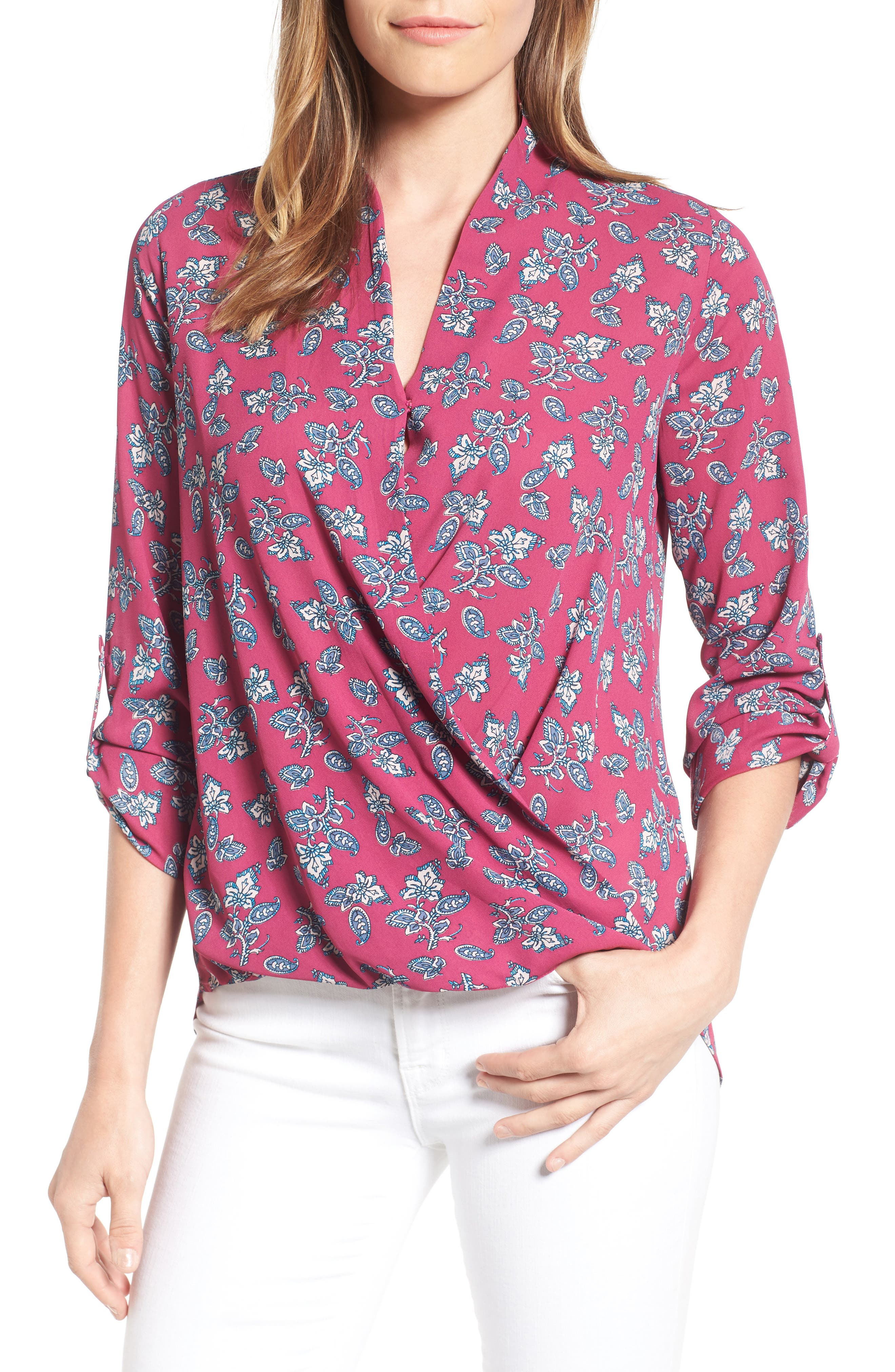 Alternate Image 1  - Pleione Faux Wrap Blouse (Regular & Petite)