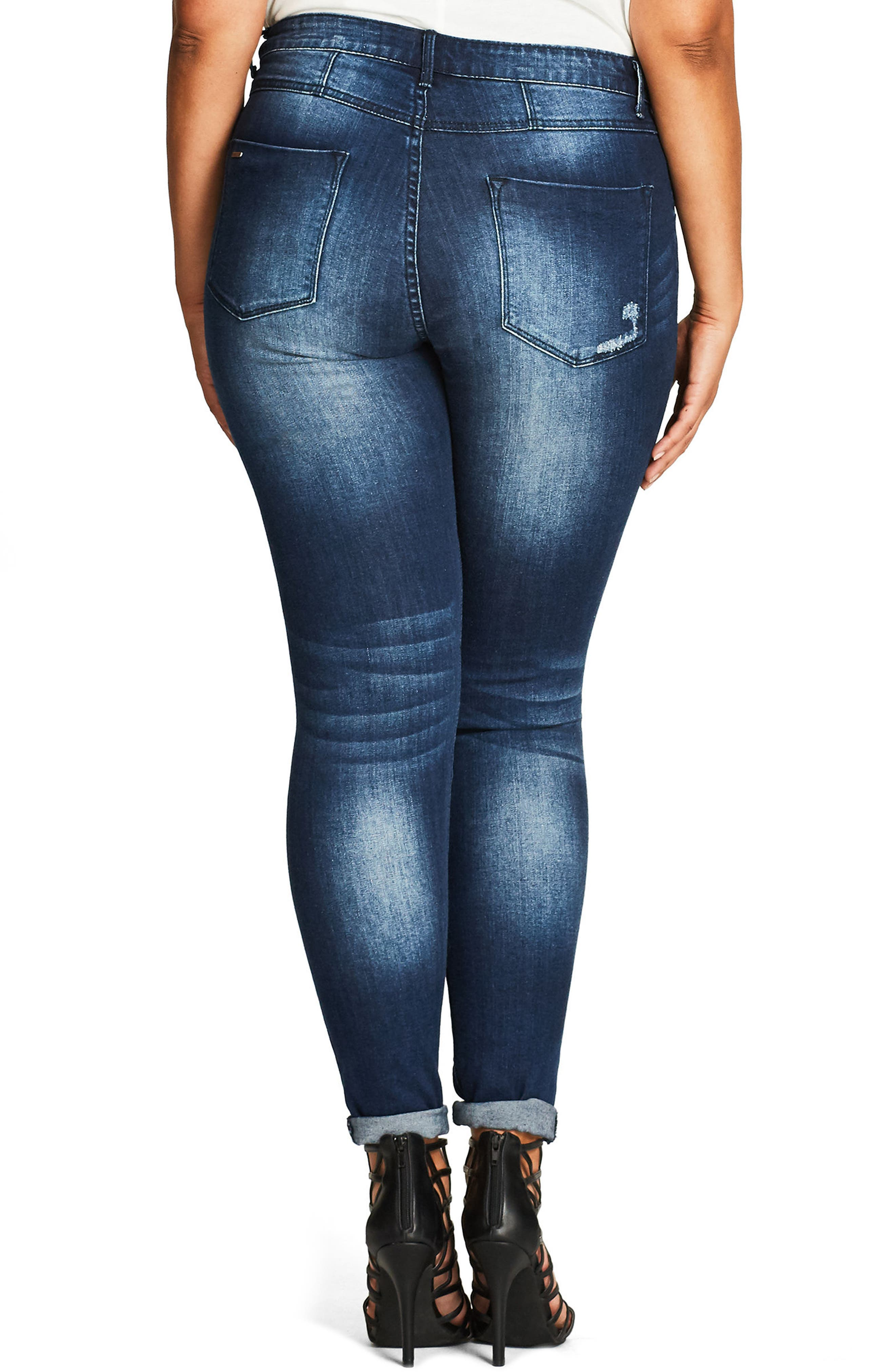 Alternate Image 2  - City Chic Embellished Destroyed Skinny Jeans (Plus Size)