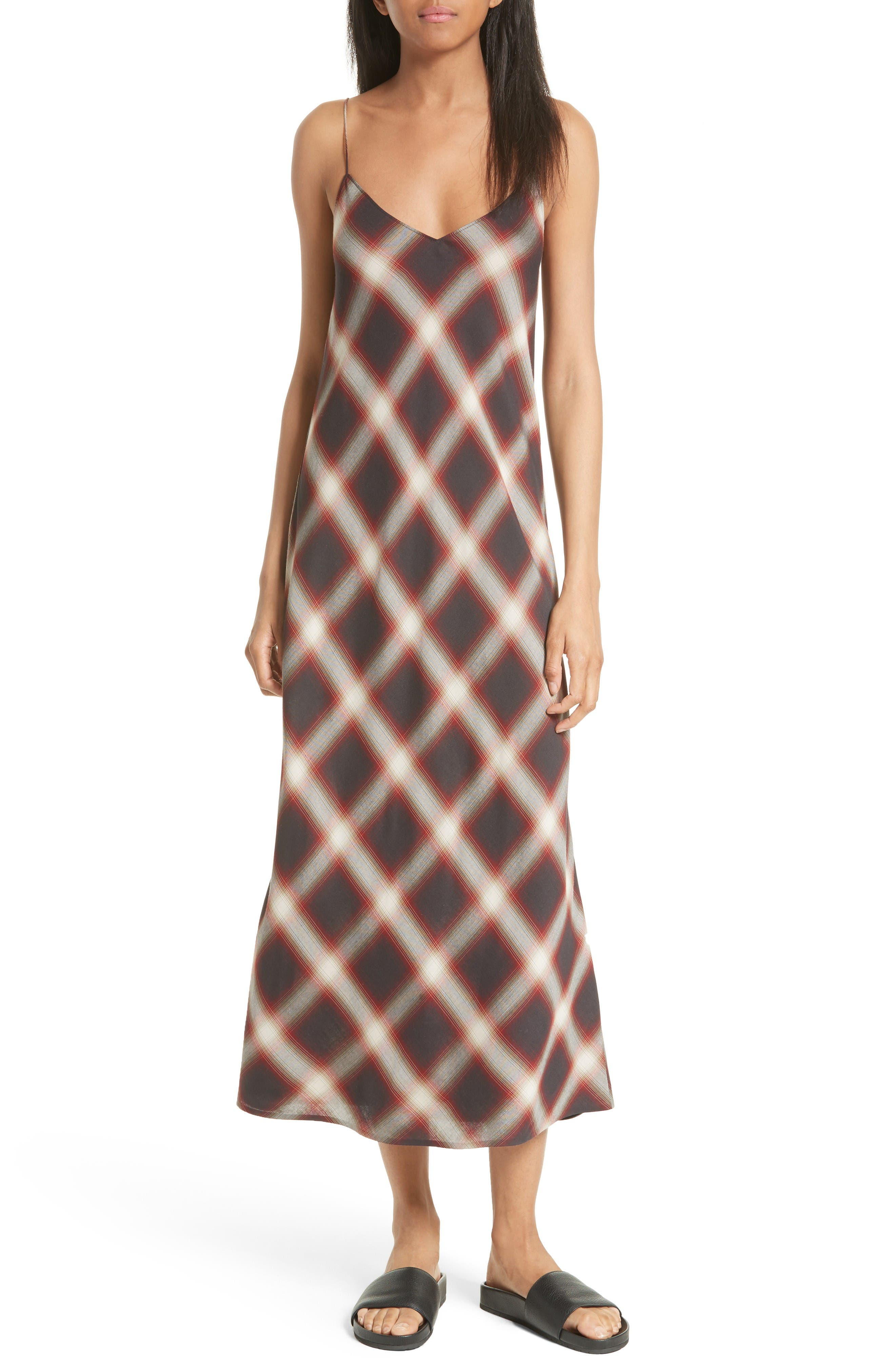 Vince Plaid Midi Slipdress
