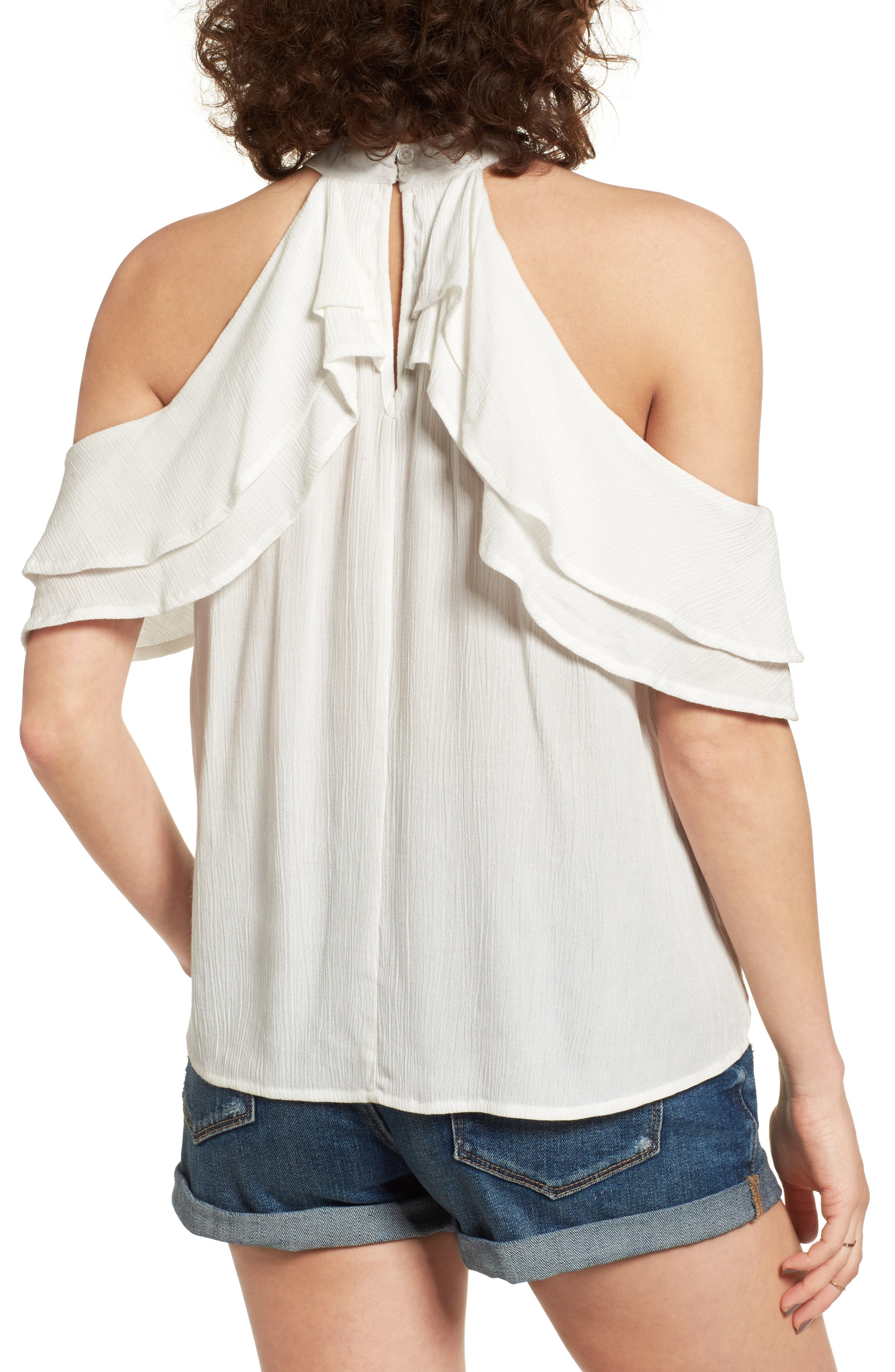 Alternate Image 2  - Band of Gypsies Ruffle Cold Shoulder Blouse