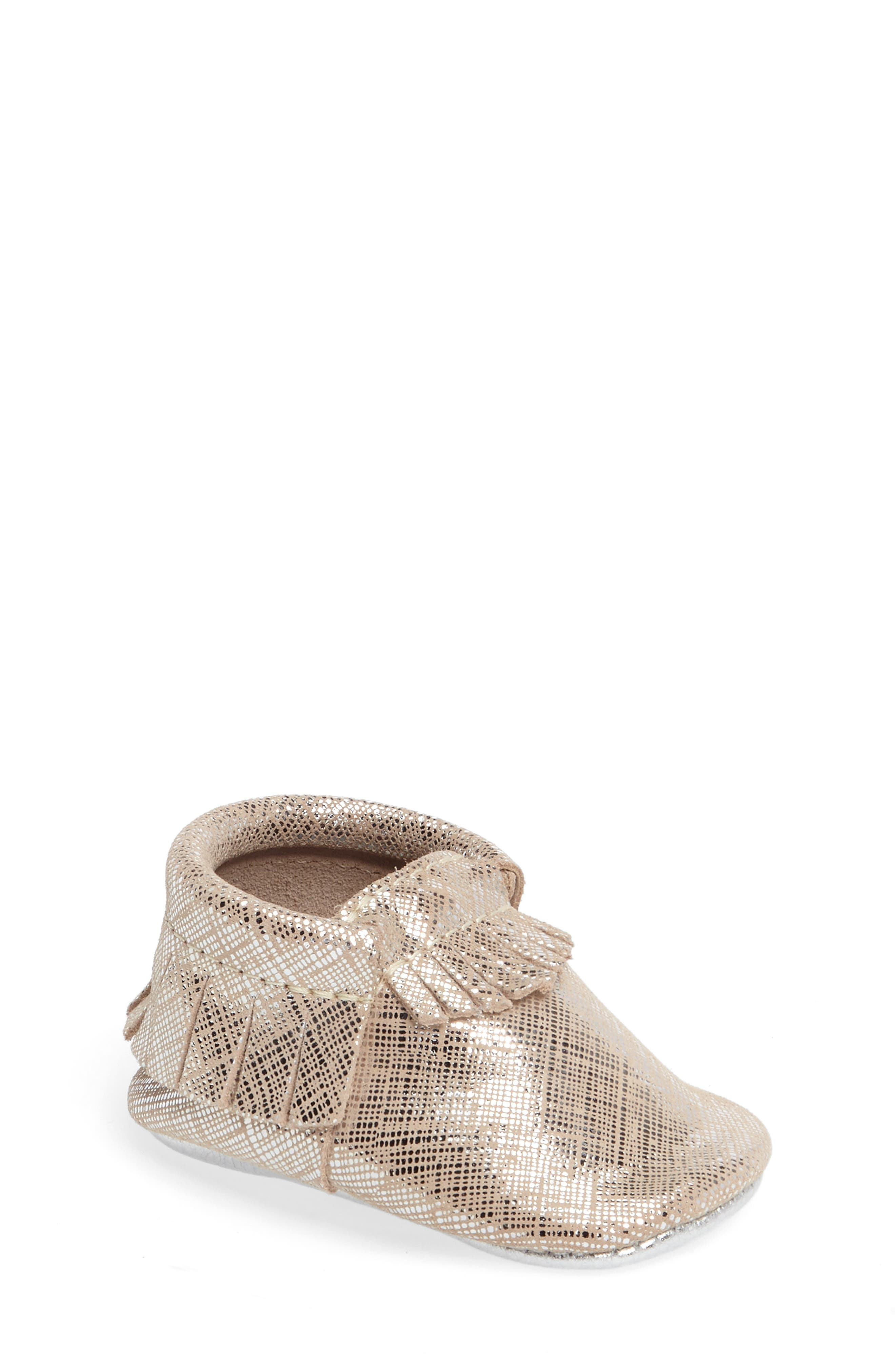 Freshly Picked Fringe Metallic Moccasin (Baby & Walker)