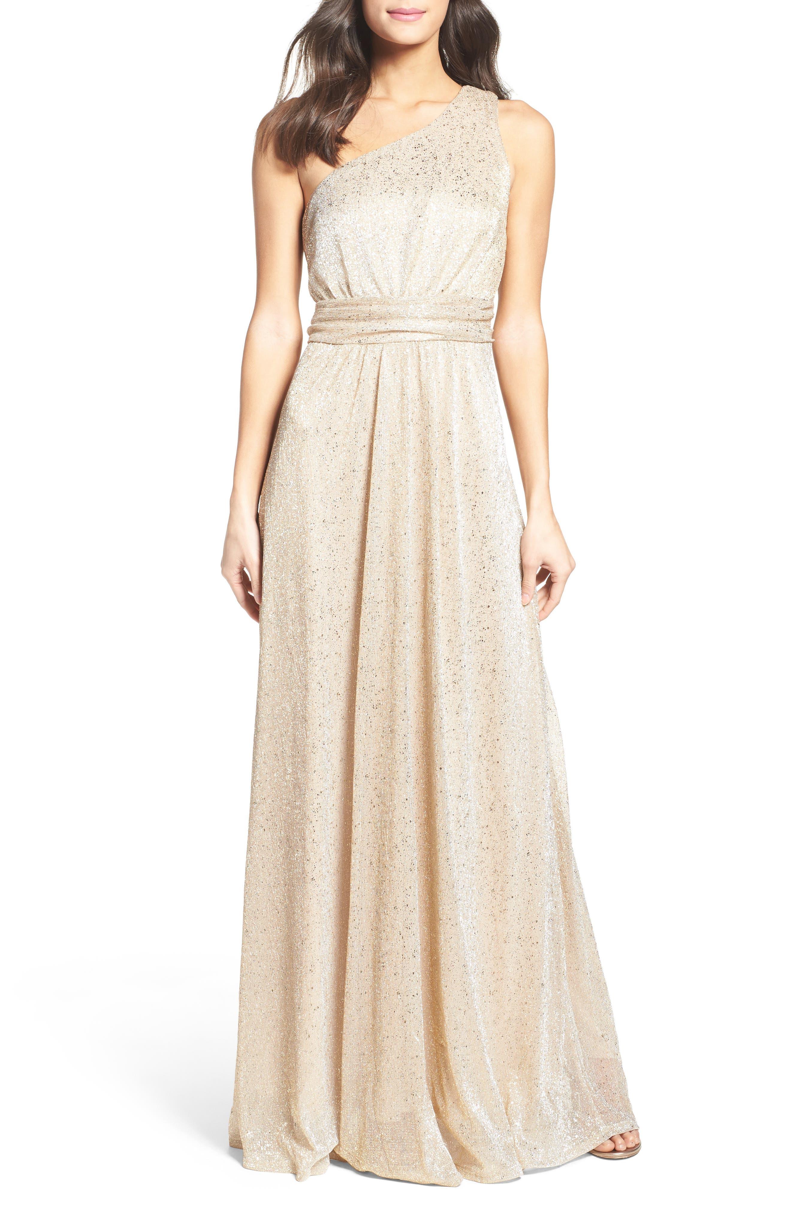 Lulus Metallic One-Shoulder Gown