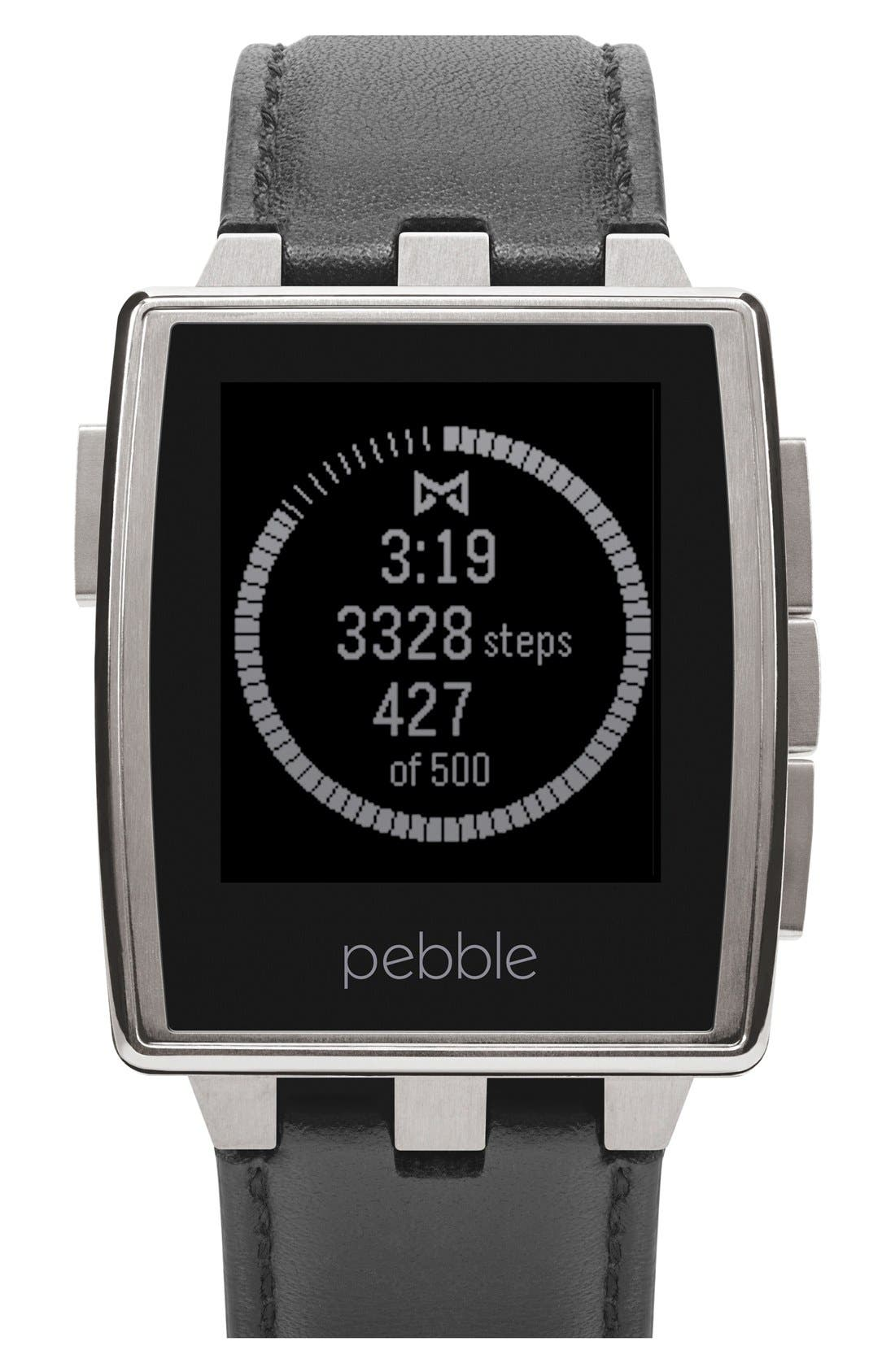 Main Image - Pebble Rectangular Leather Strap Smart Watch, 43mm