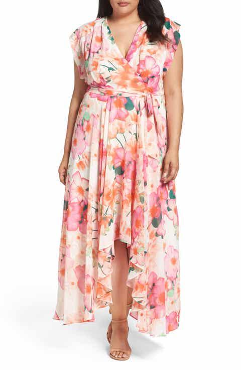 Eliza J Print Faux Wrap Maxi Dress