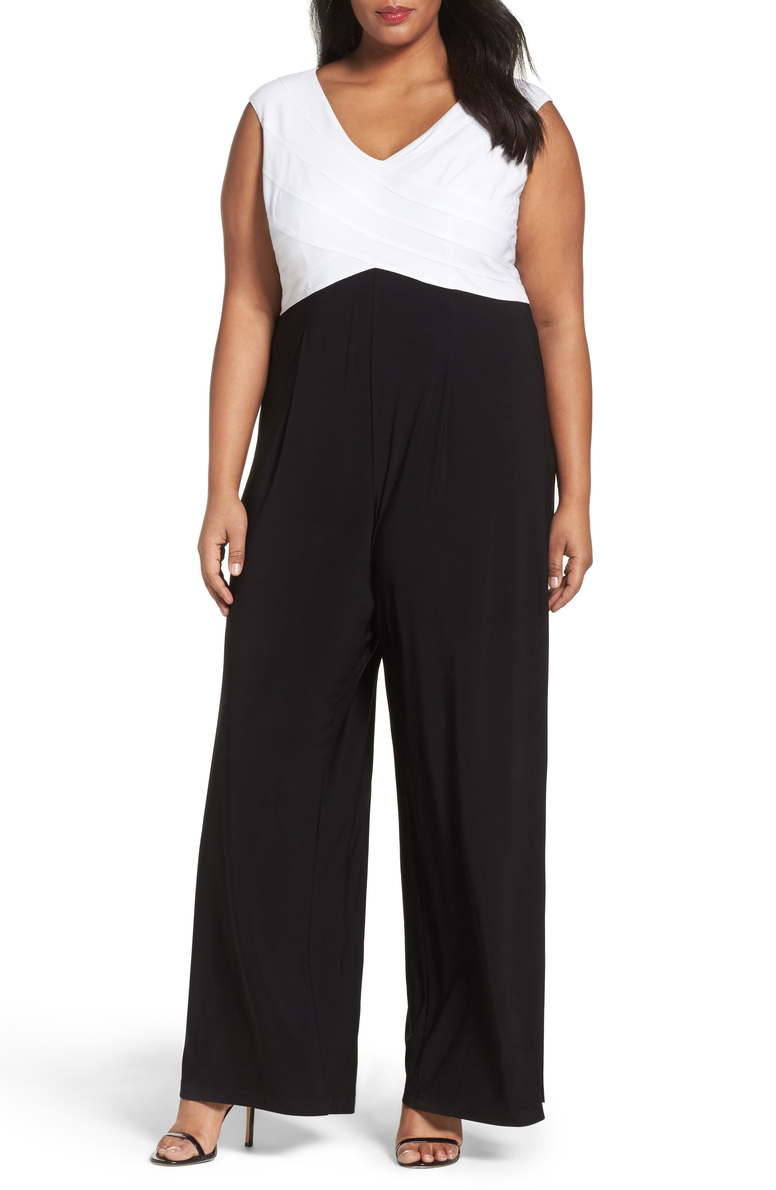 Adrianna Papell Colorblock Jersey Jumpsuit (Plus Size)
