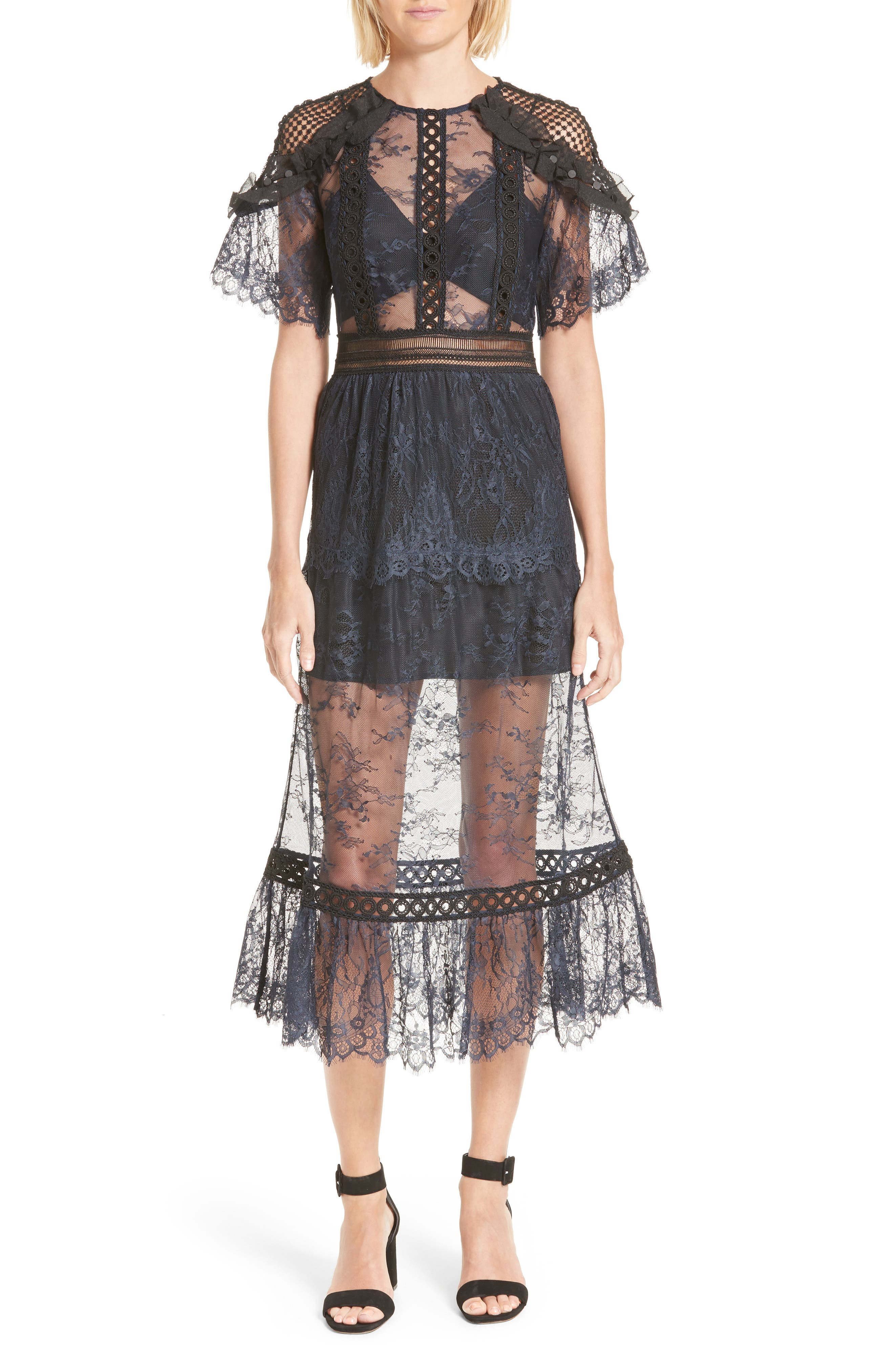 Main Image - Self-Portrait Frilled Lace Midi Dress