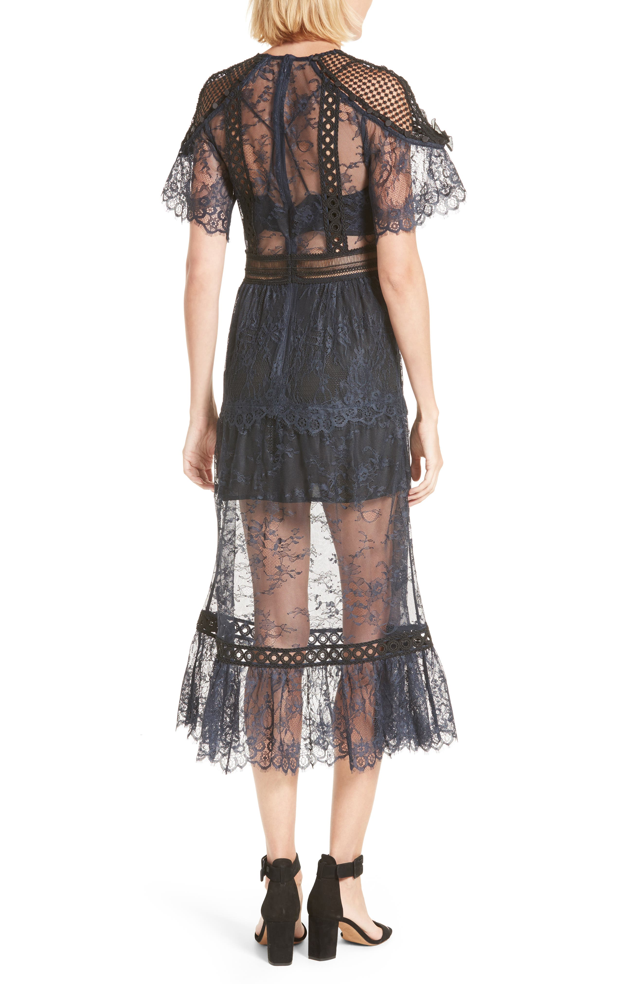 Alternate Image 2  - Self-Portrait Frilled Lace Midi Dress