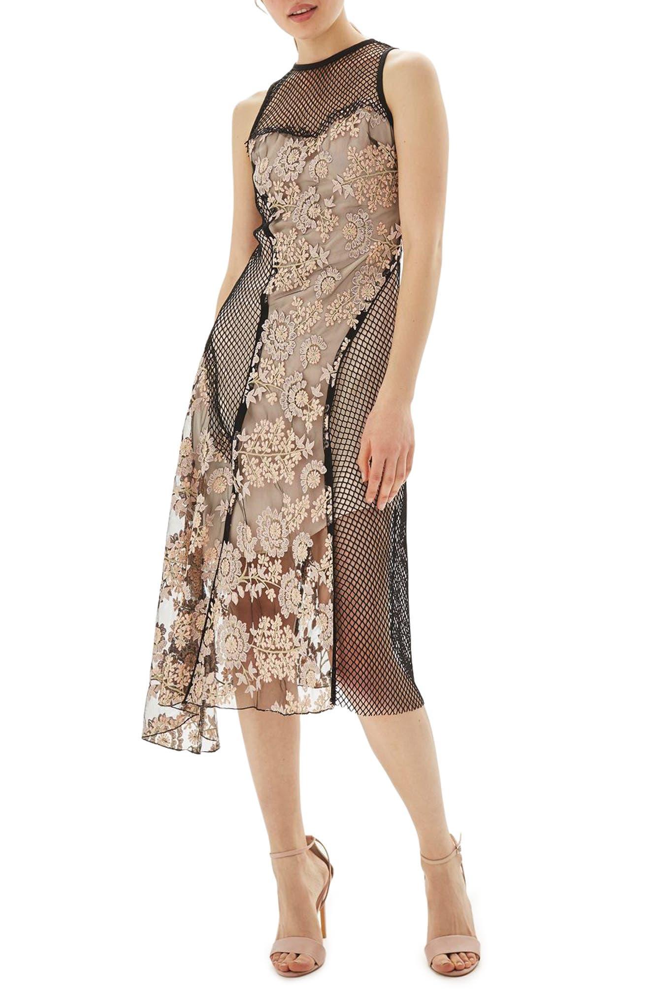 Main Image - Topshop Lace & Fishnet Midi Dress