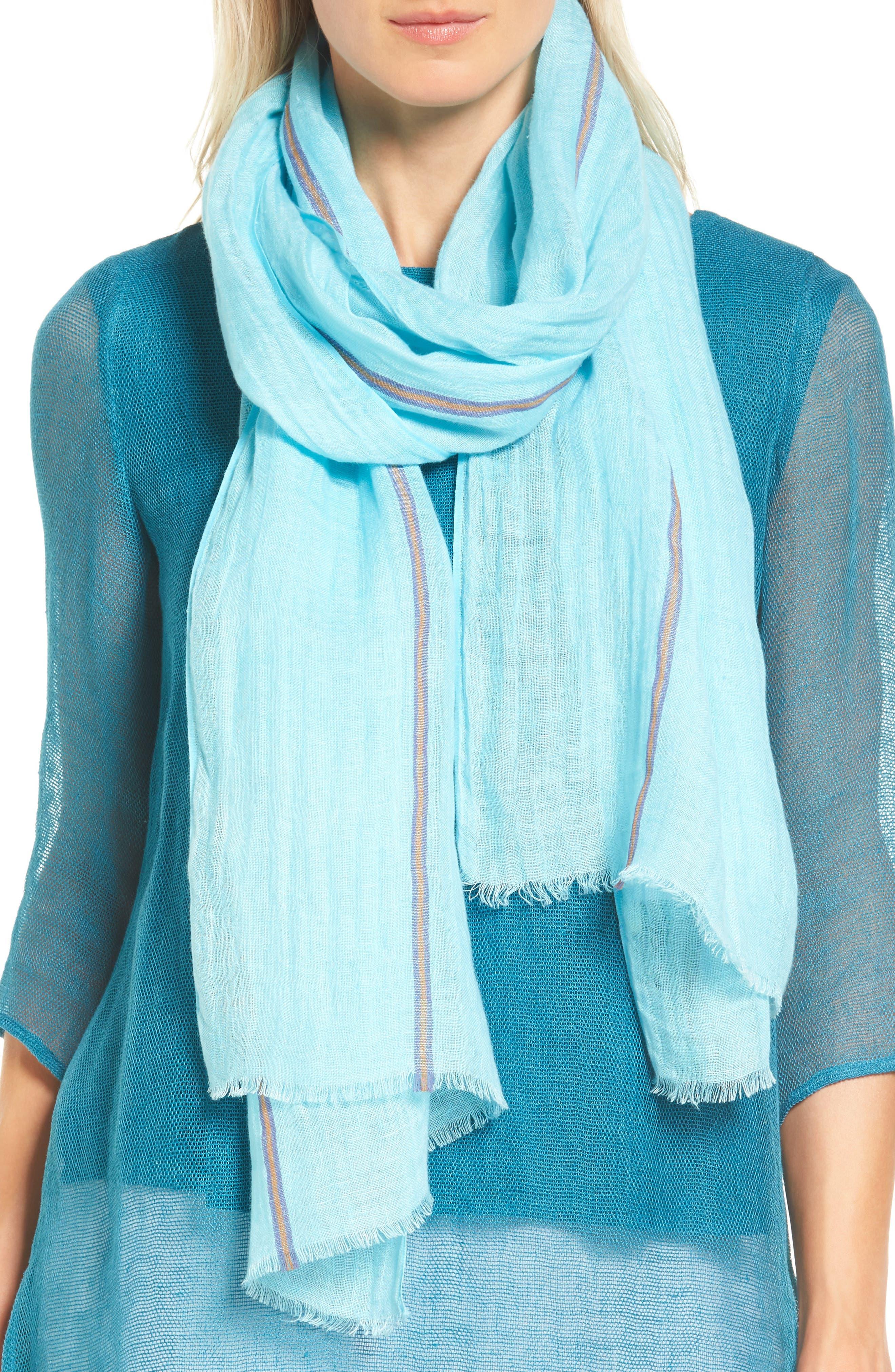 Eileen Fisher Scarf Stripe Organic Linen Blend Scarf