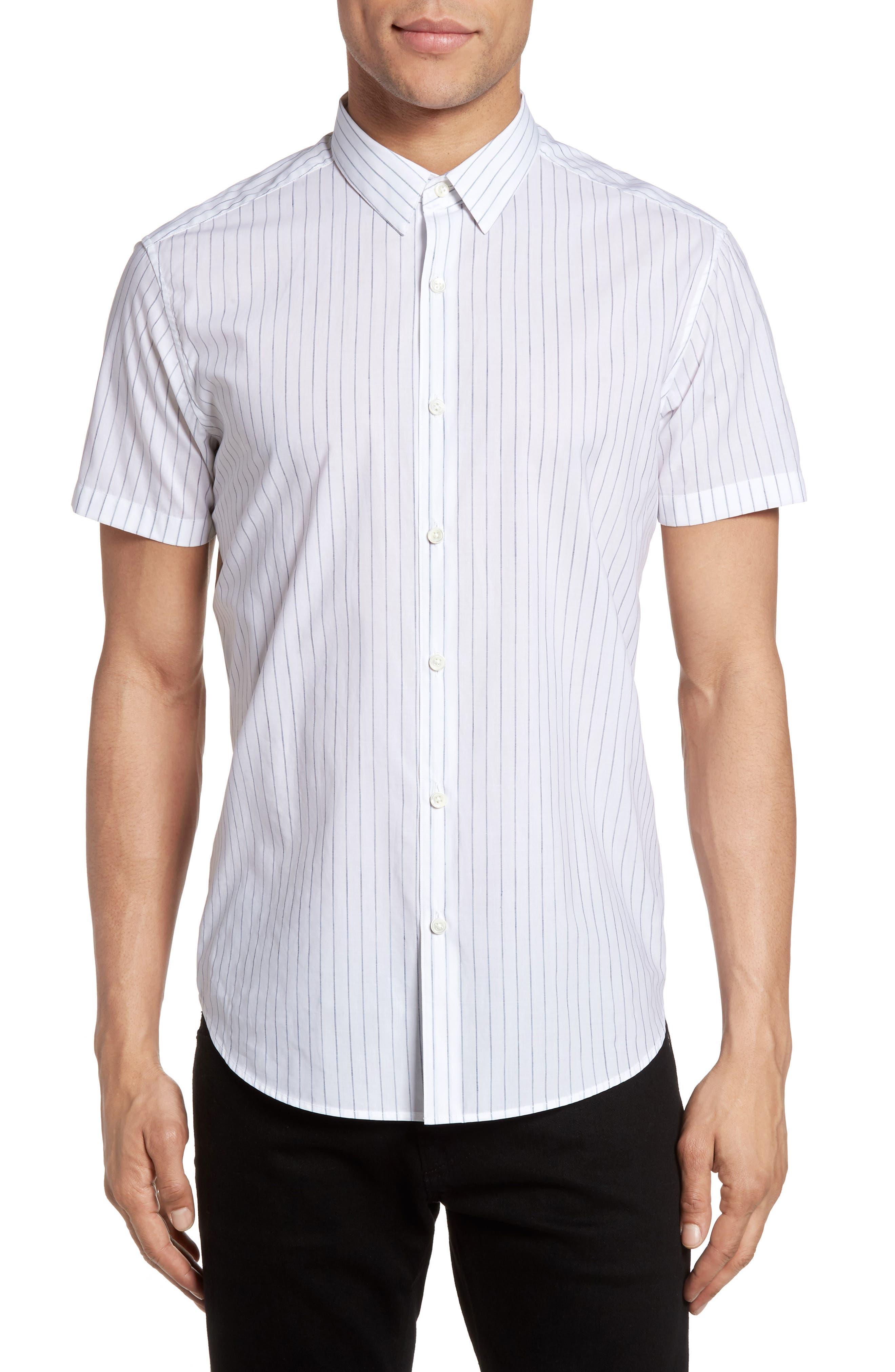 Theory Zack S Trim Fit Stripe Sport Shirt