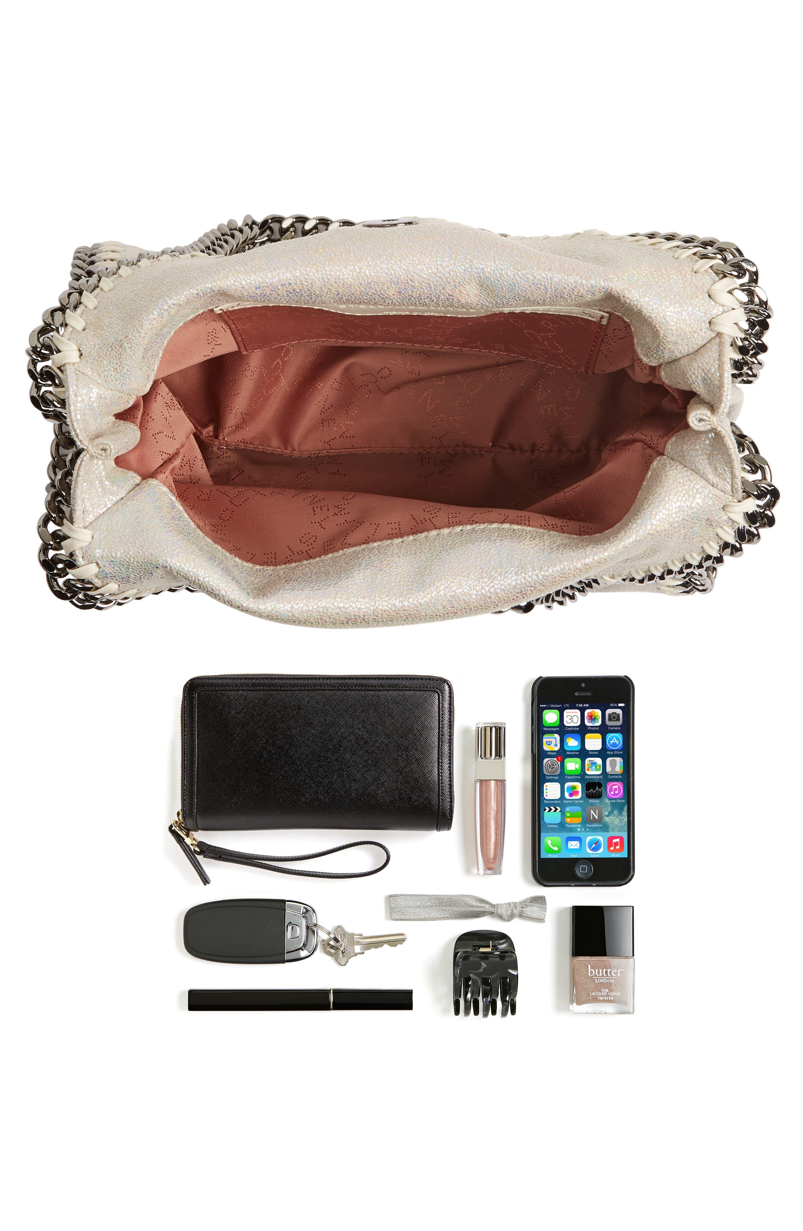 Alternate Image 7  - Stella McCartney Mini Falabella - Holograph Faux Leather Crossbody Bag