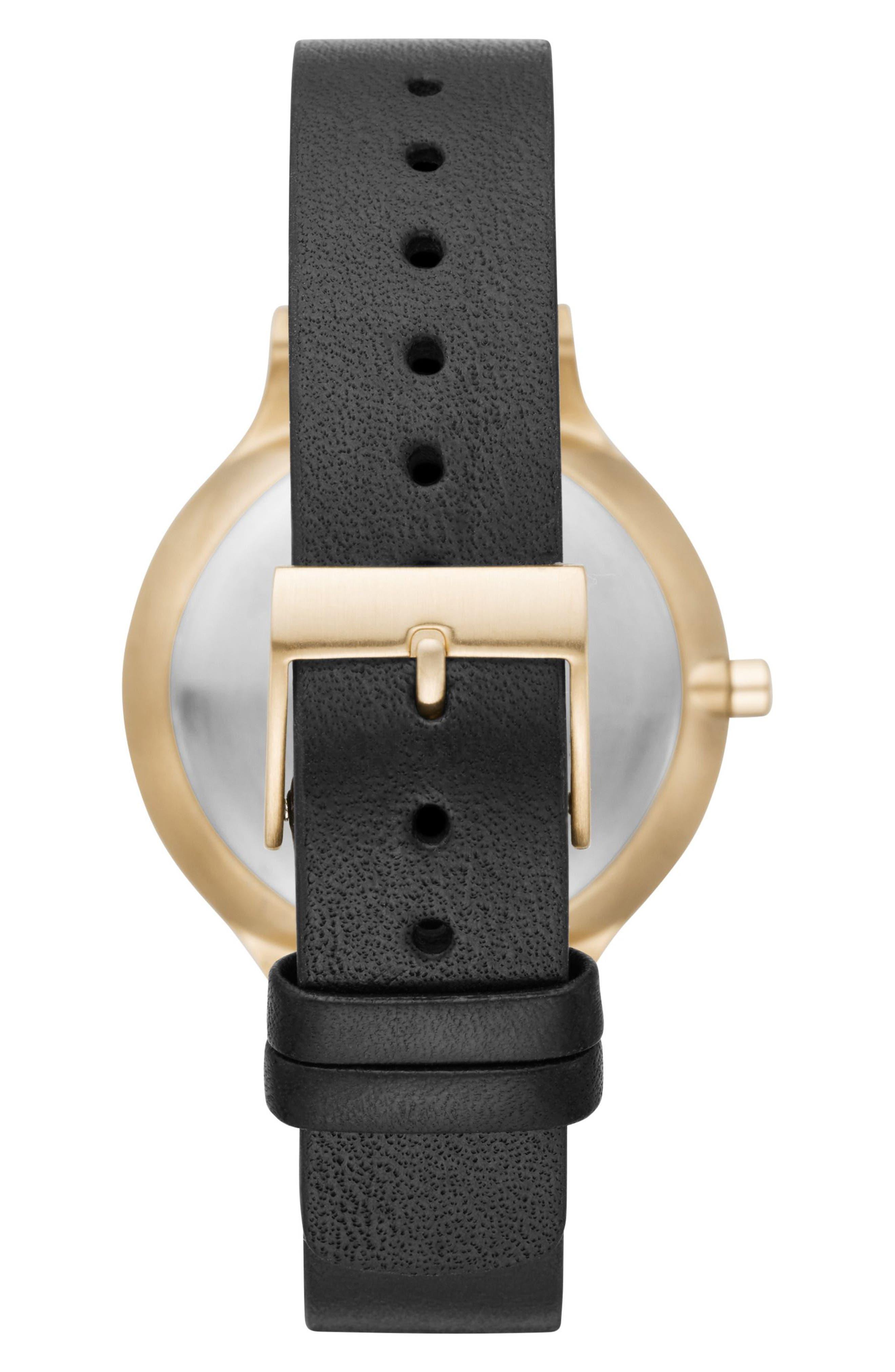 Alternate Image 2  - Skagen Anita Leather Strap Watch, 34mm