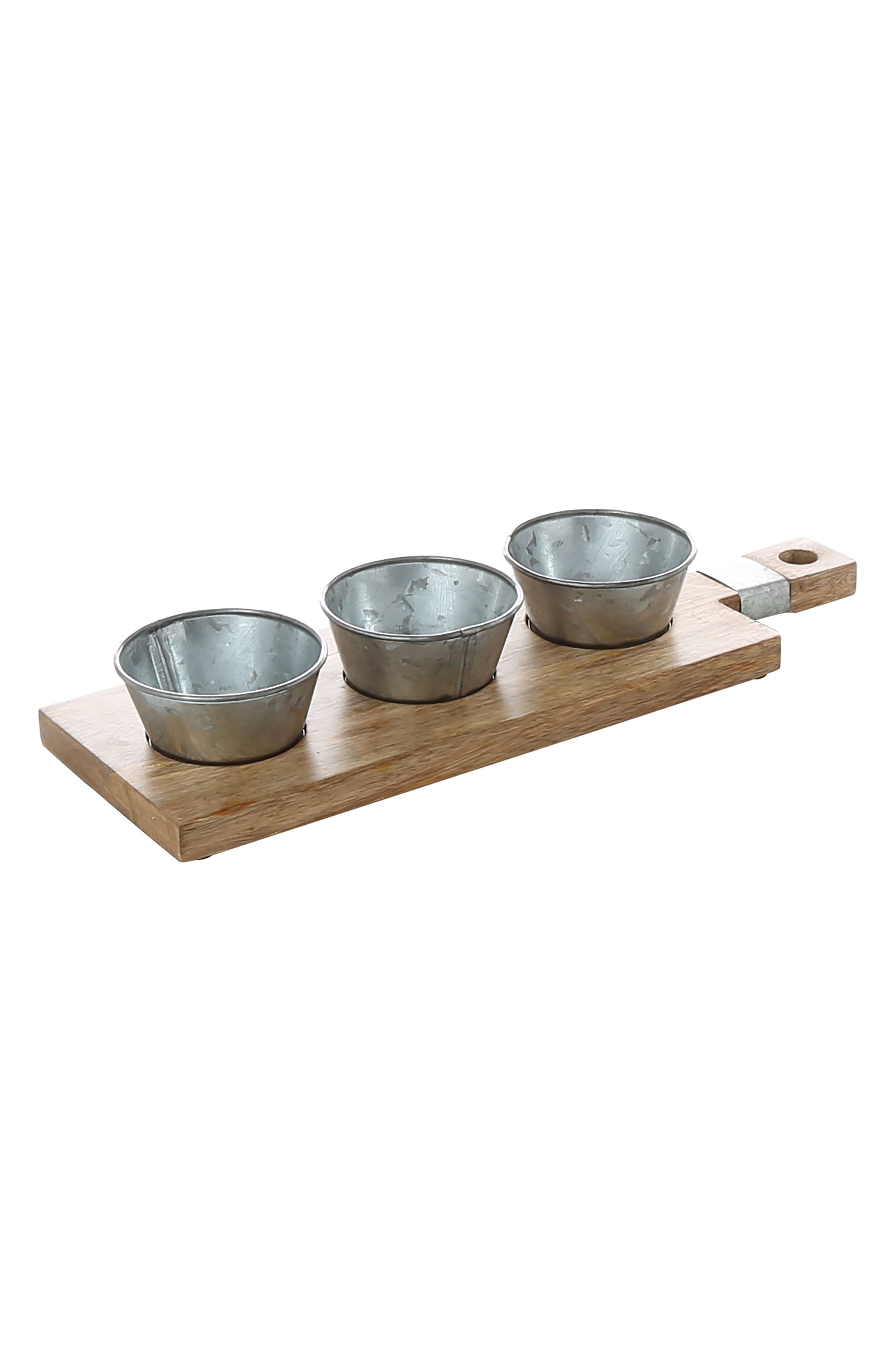 Thirstystone Condiment Tray with Galvanized Bowls