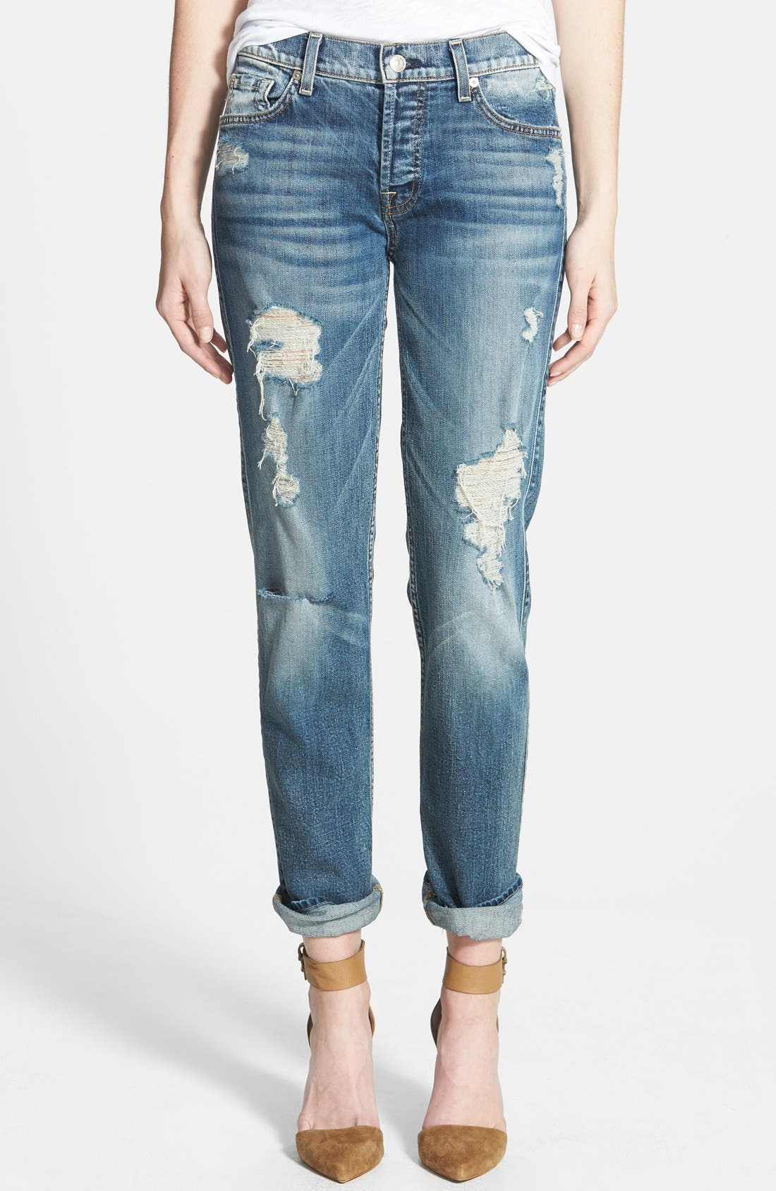 Main Image - 7 For All Mankind® 'Josefina' Boyfriend Jeans (Red Cast Heritage Blue)