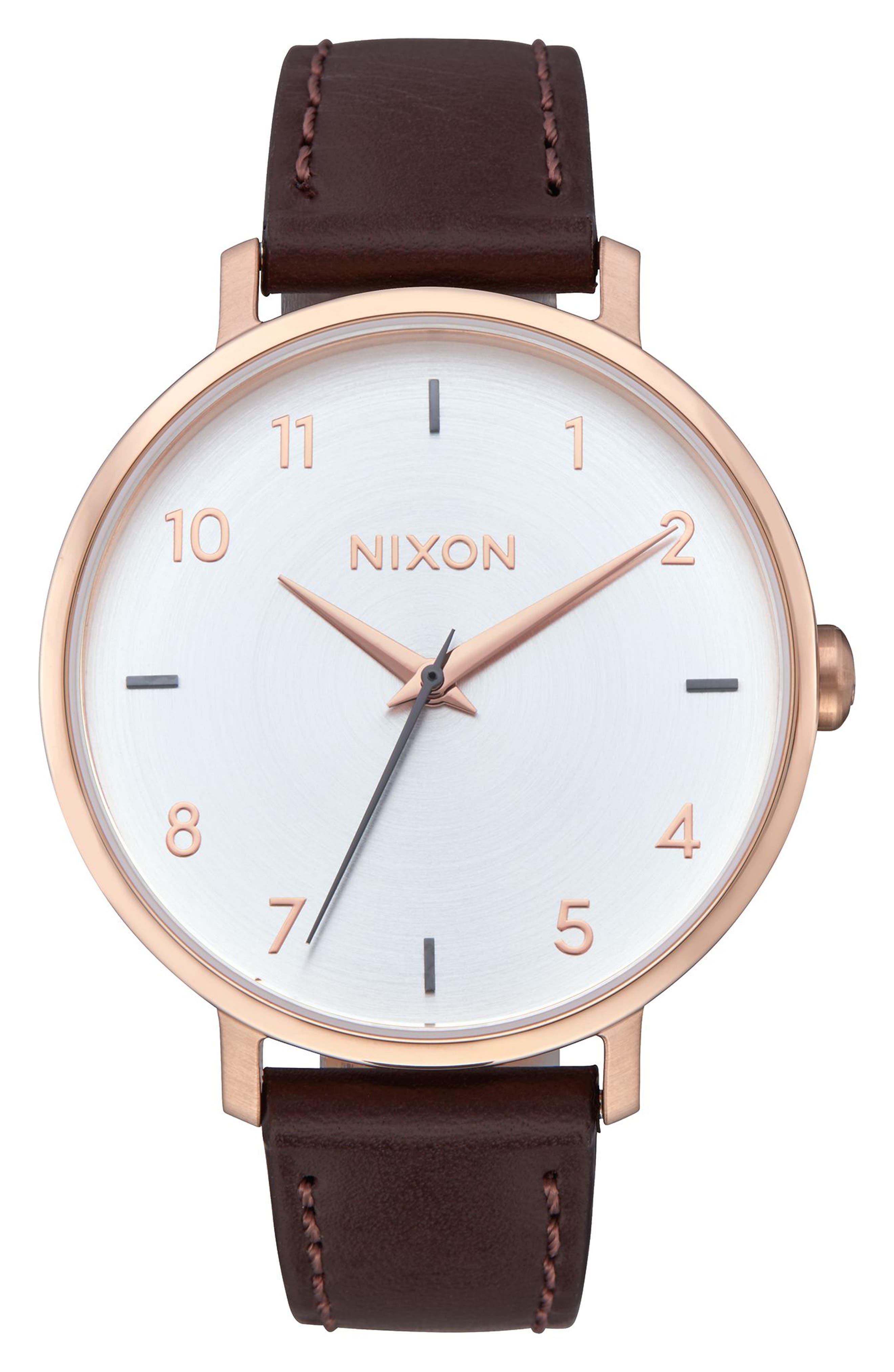 Nixon The Arrow Leather Strap Watch, 38mm