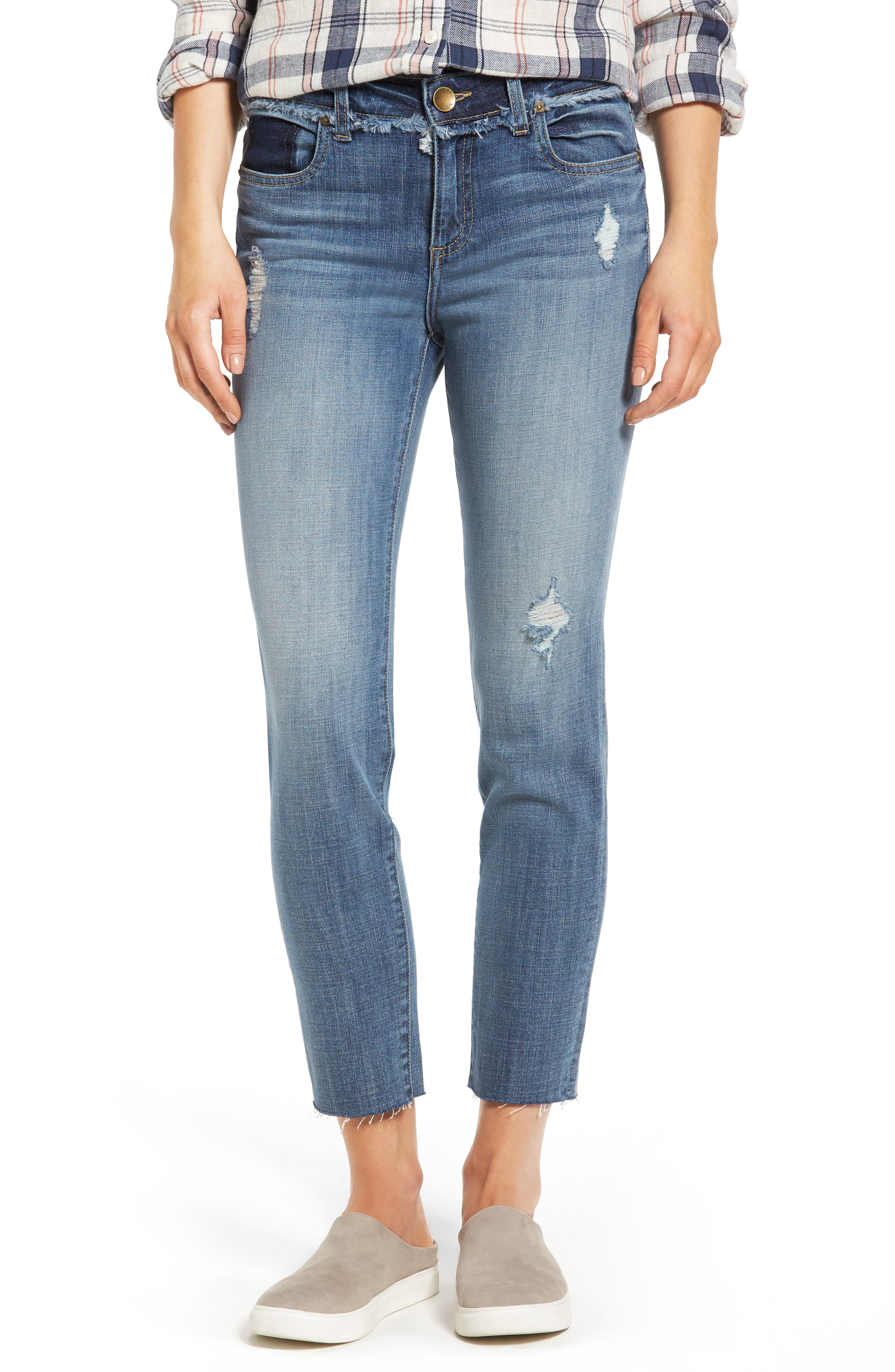 KUT from the Kloth Kelly Destructed Ankle Straight Leg Jeans (Didactic)