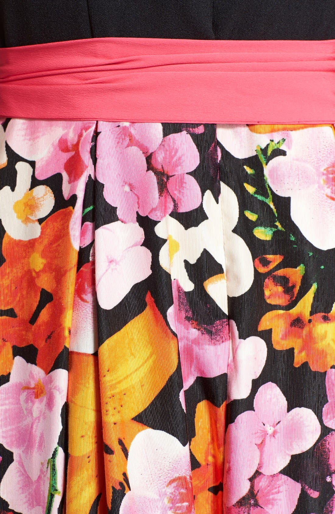 Alternate Image 4  - Eliza J Floral Print Faille Fit & Flare Dress (Regular & Petite)