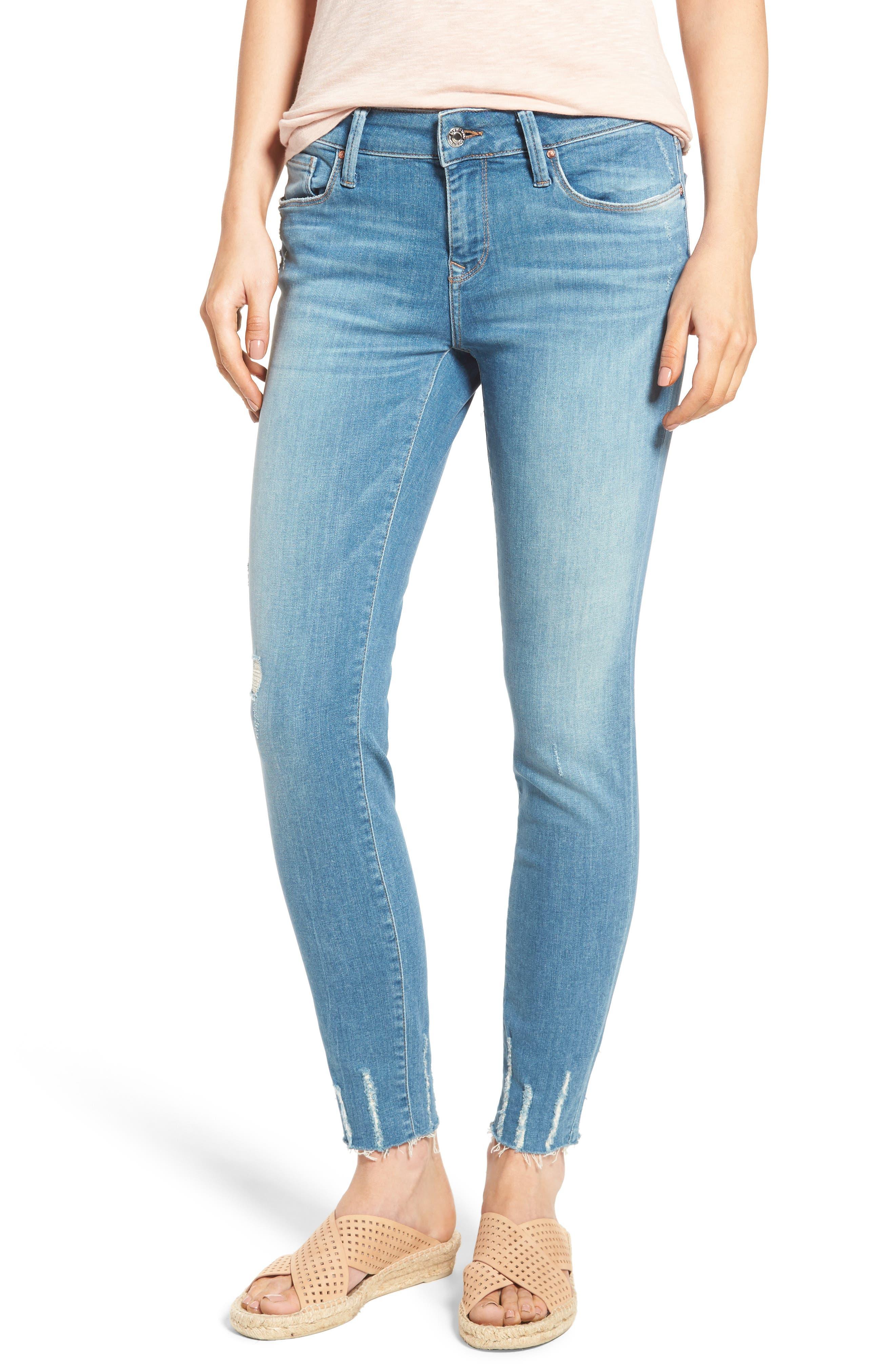 Mavi Jeans Adriana Frayed Skinny Ankle Jeans (Shaded Glam)