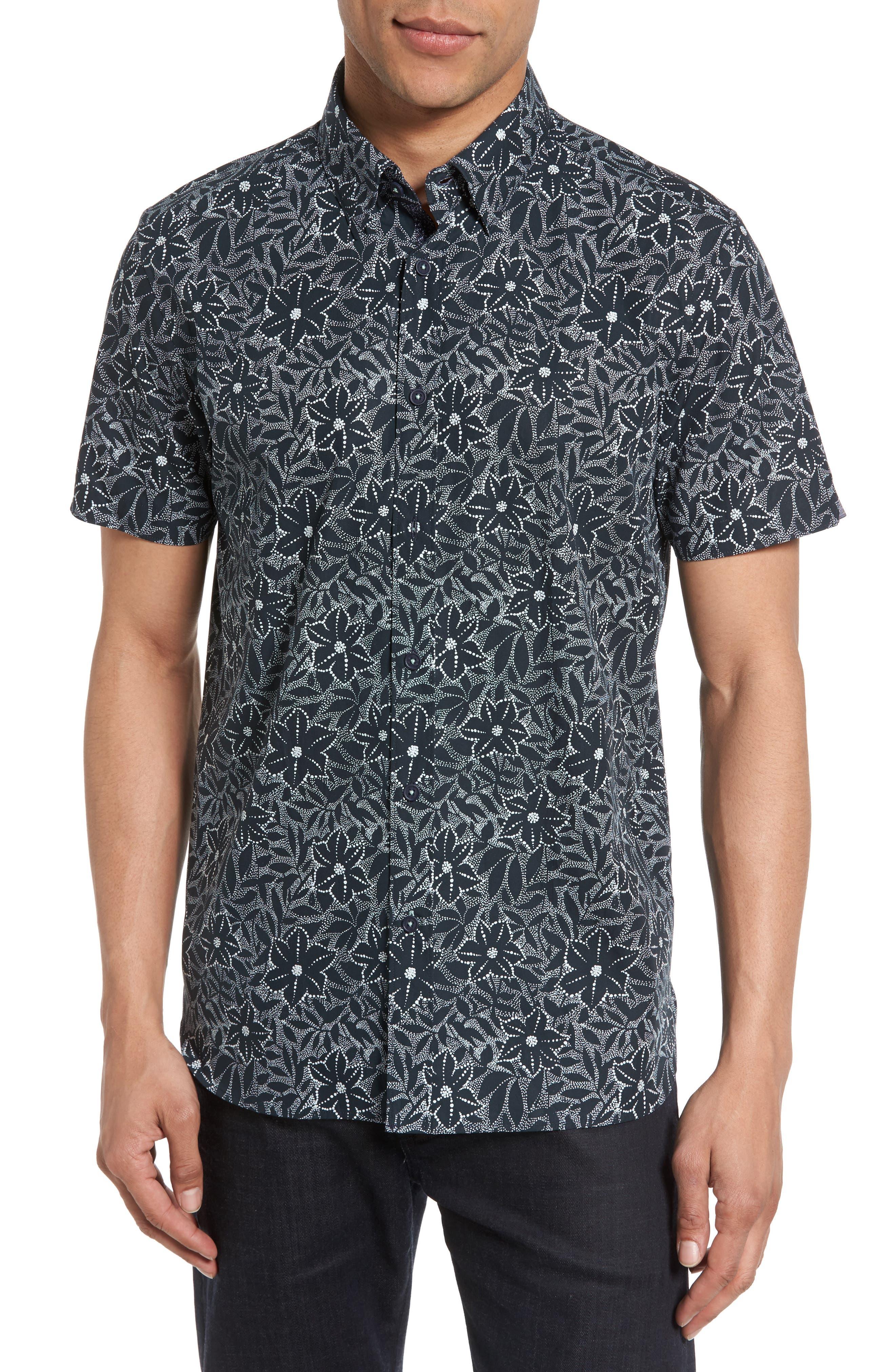 Ted Baker London Calous Slim Fit Flower Print Sport Shirt