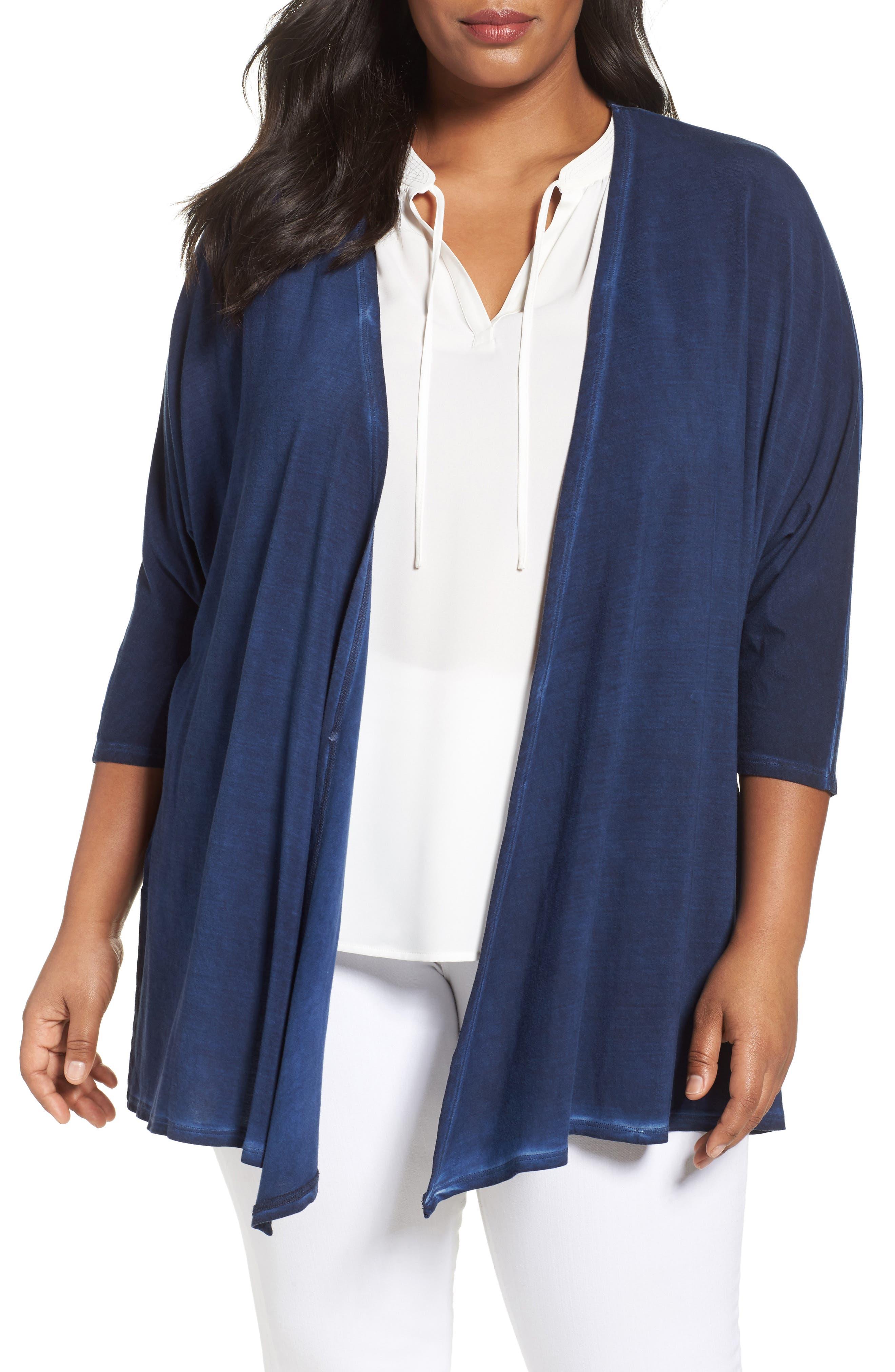 Sejour Drape Front Cardigan (Plus Size)