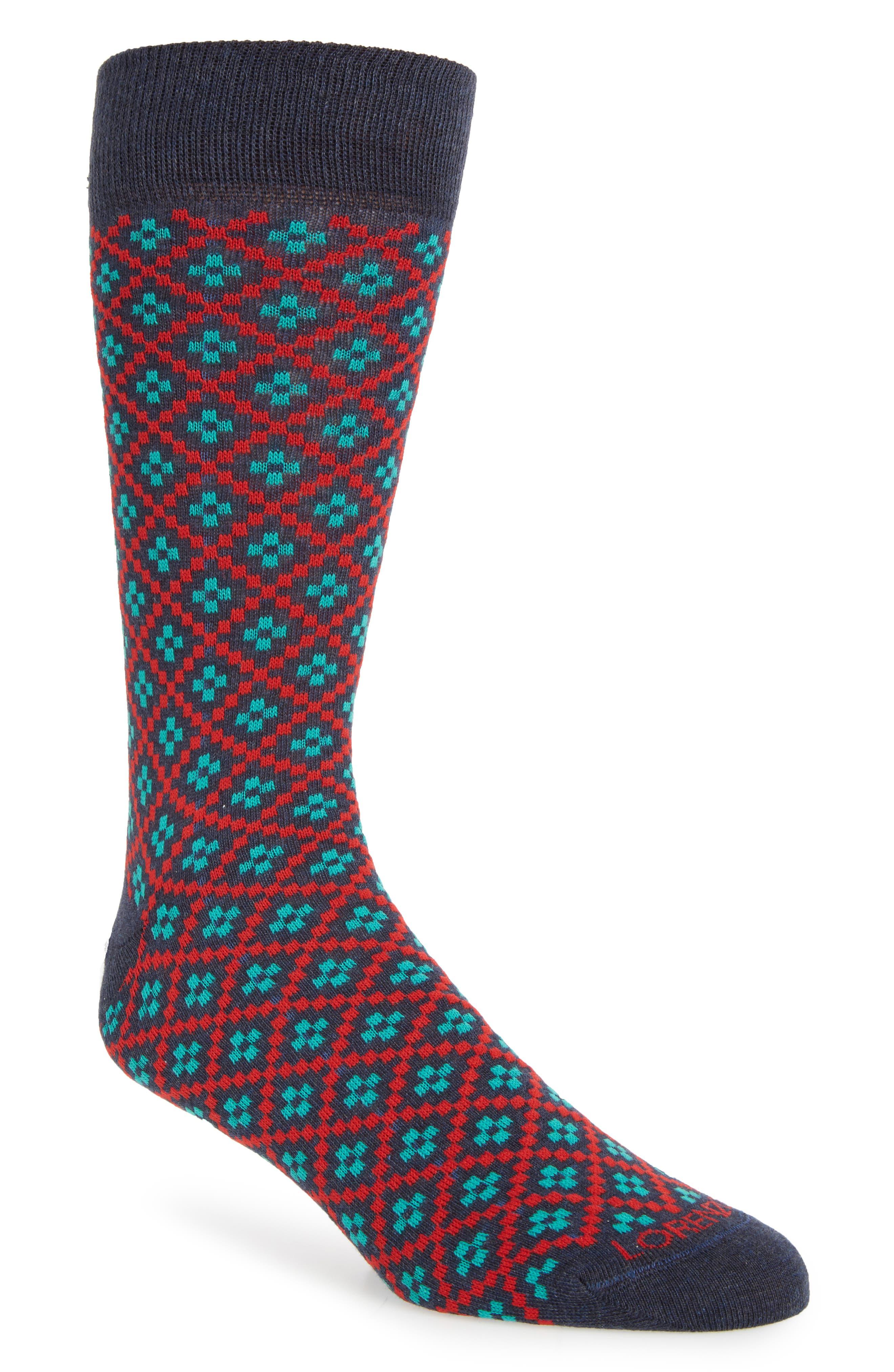 Lorenzo Uomo Plus Pattern Crew Socks (3 for $30)