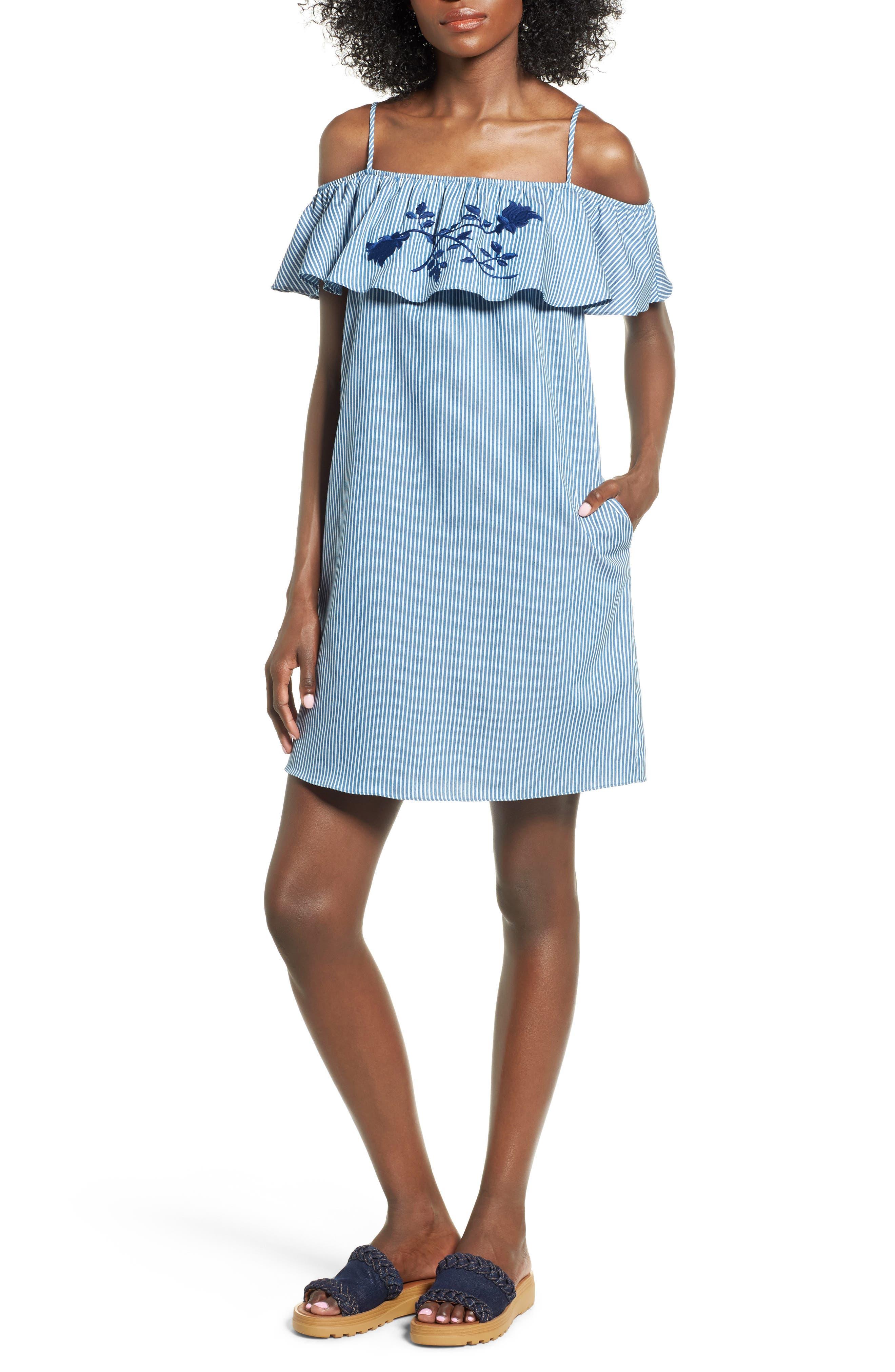 Everly Embroidered Cold Shoulder Dress