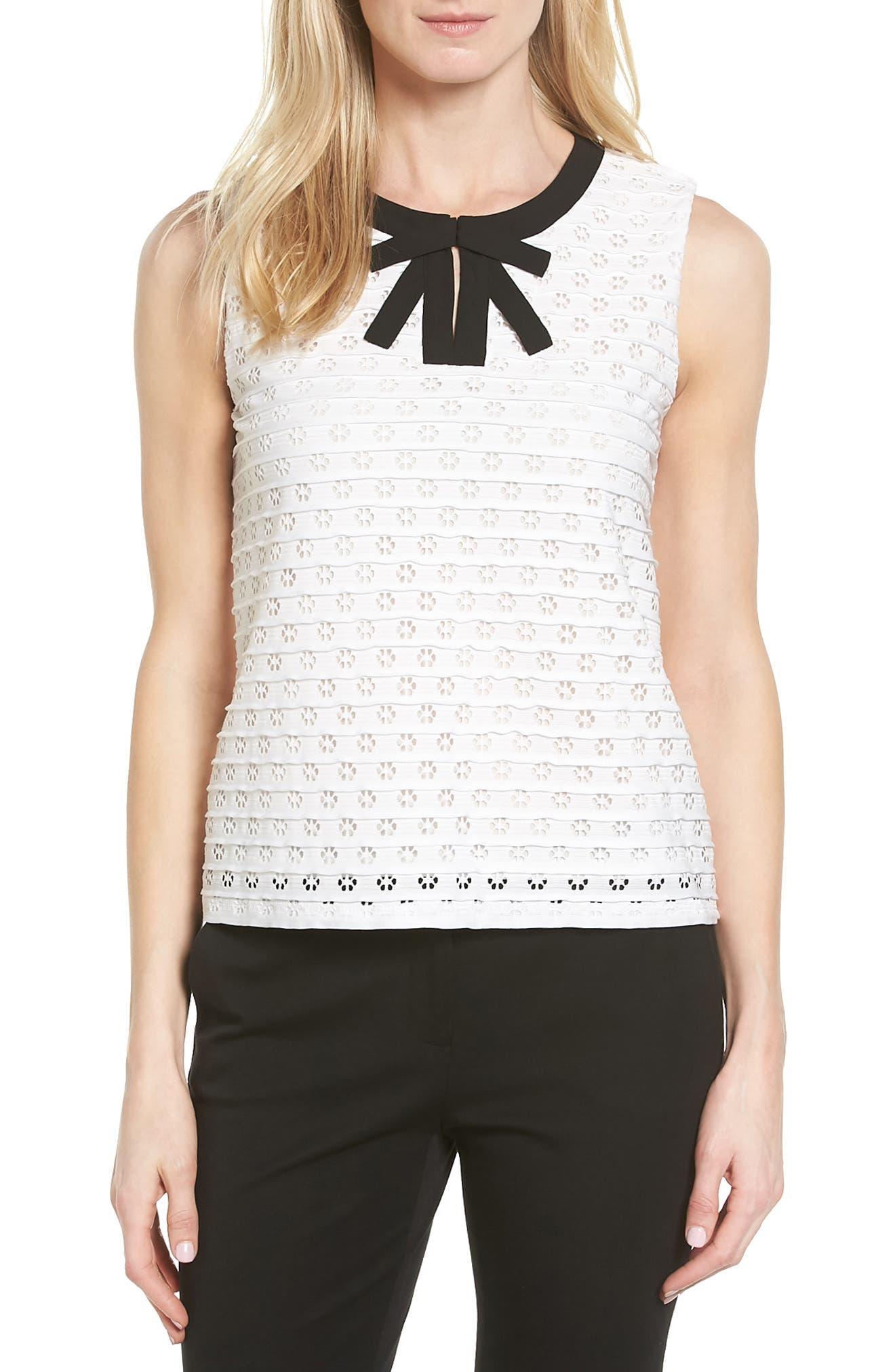 CeCe Bow Front Jacquard Knit Top