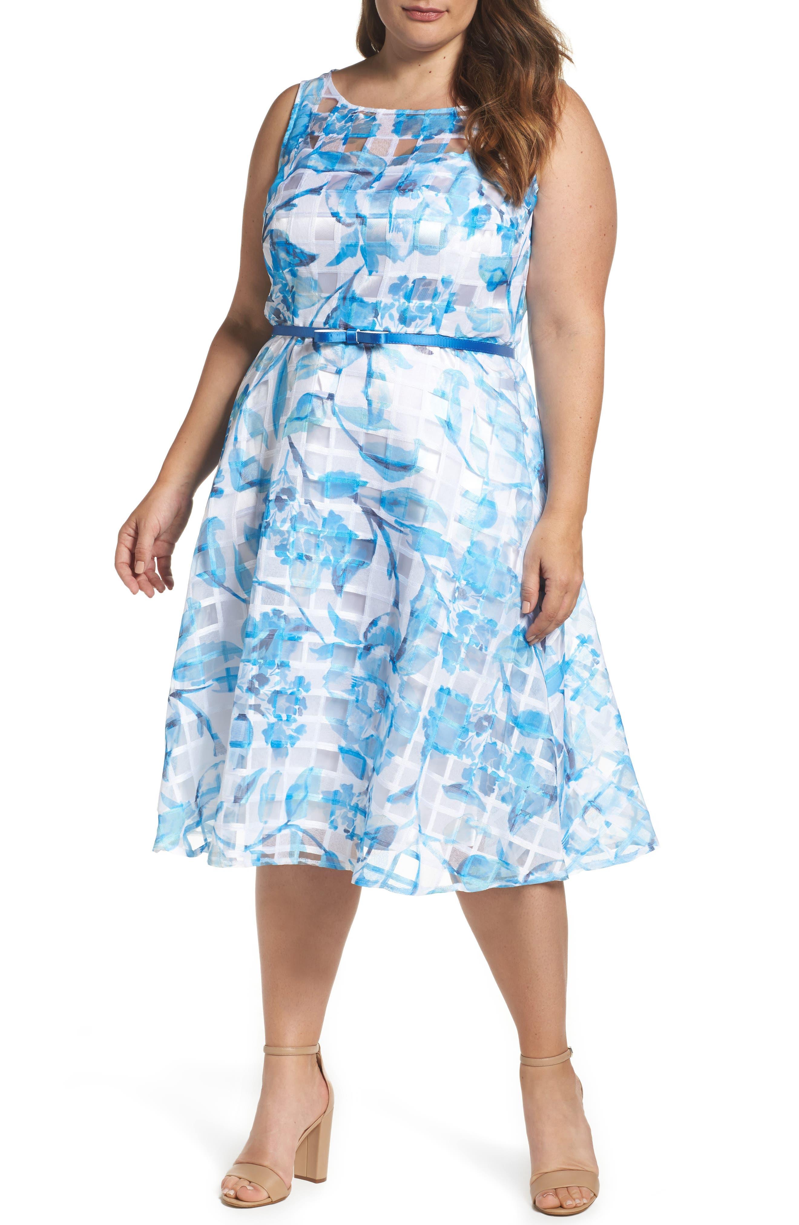 Gabby Skye Floral Organza Fit & Flare Dress (Plus Size)