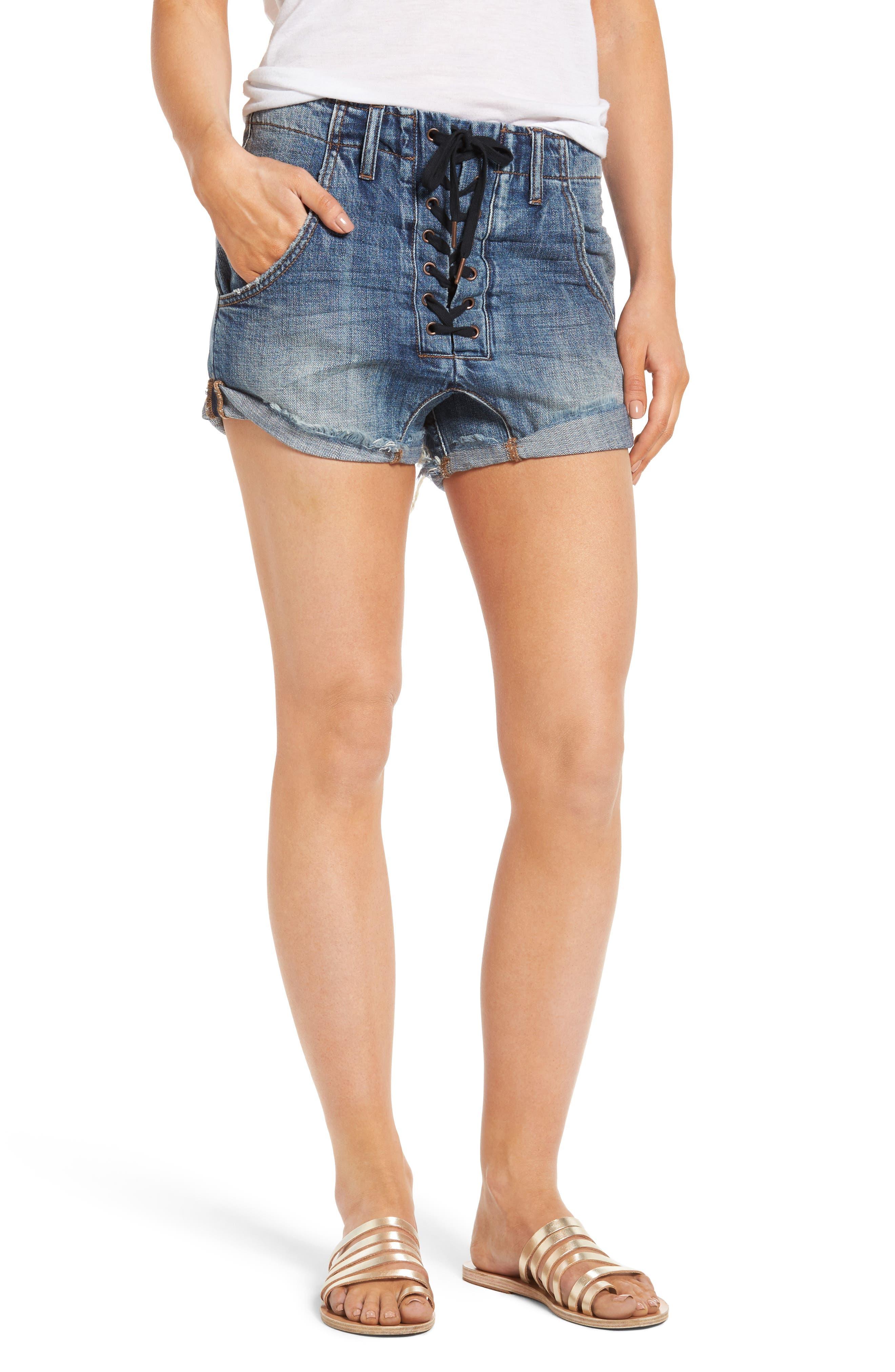 One Teaspoon Superfreaks Lace-Up Denim Shorts (Blue Suede)