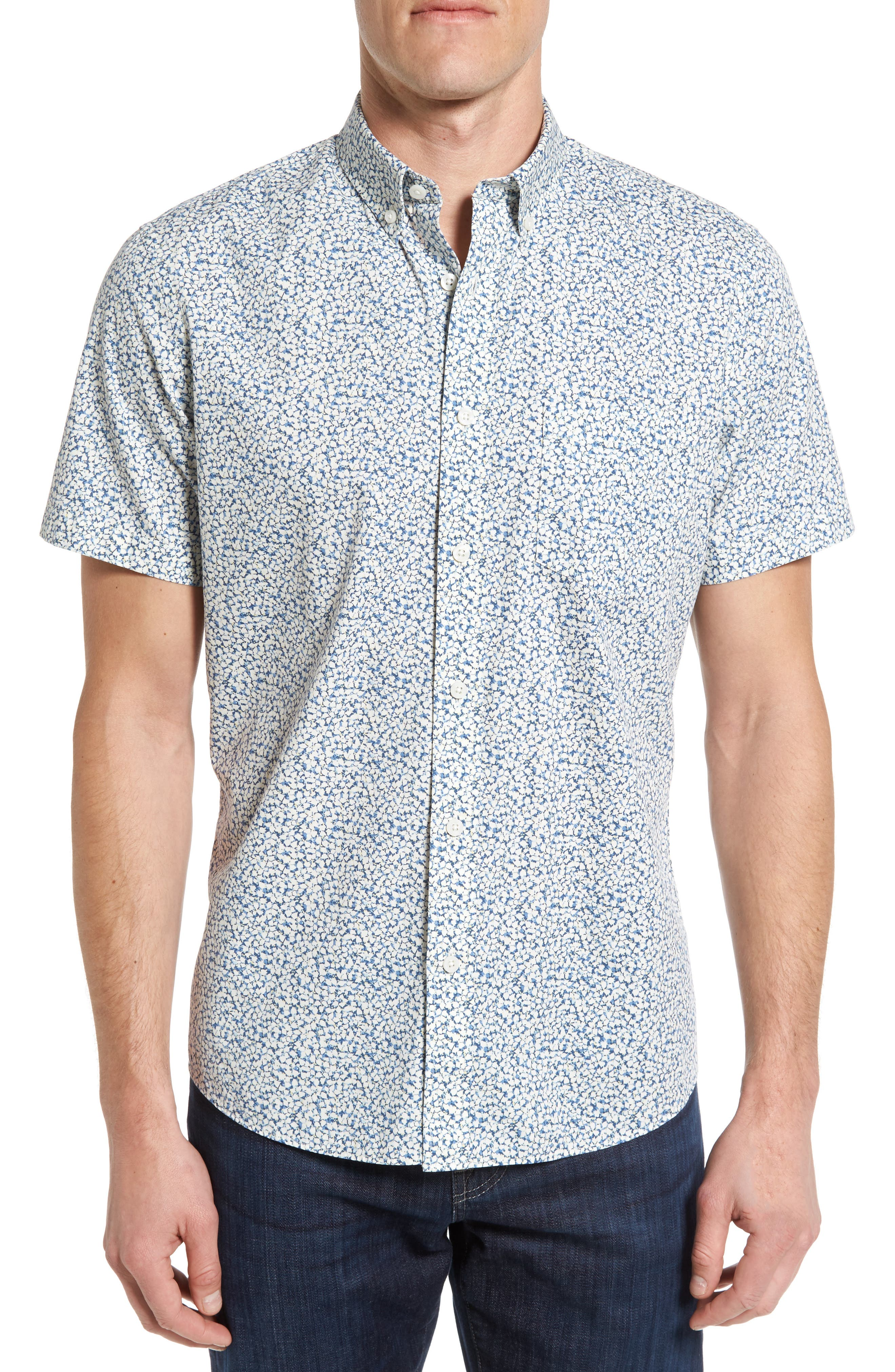 Nordstrom Men's Shop Slim Fit Floral Print Sport Shirt