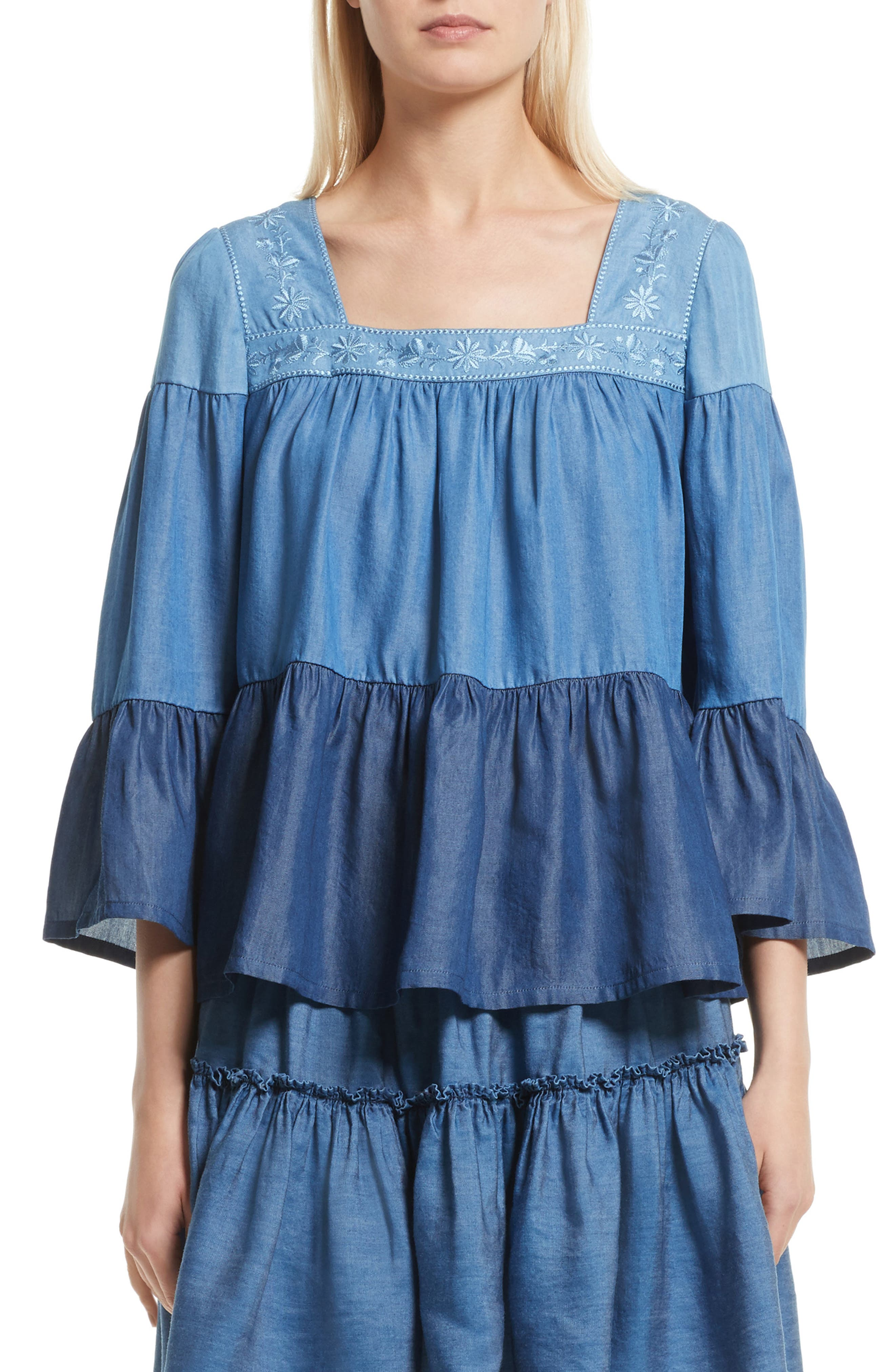 kate spade new york embroidered chambray top