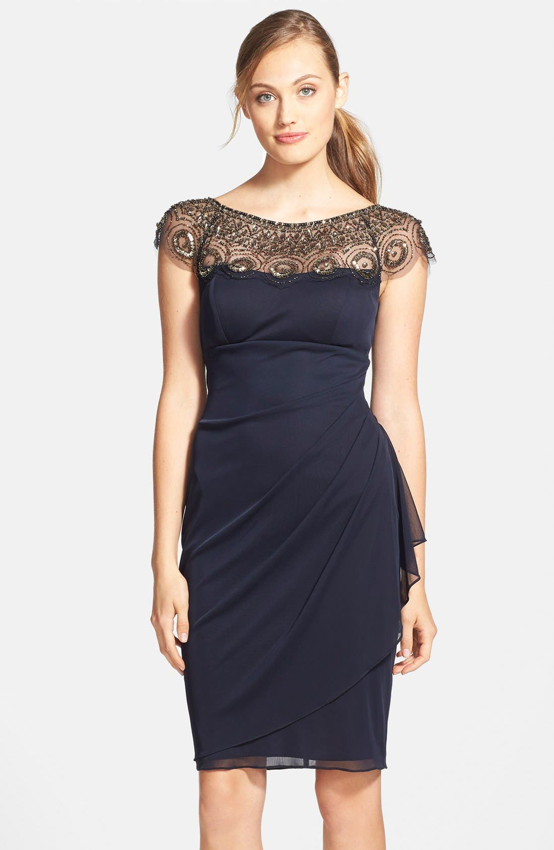 Alternate Image 1 Selected - Xscape Embellished Yoke Ruched Mesh Sheath Dress