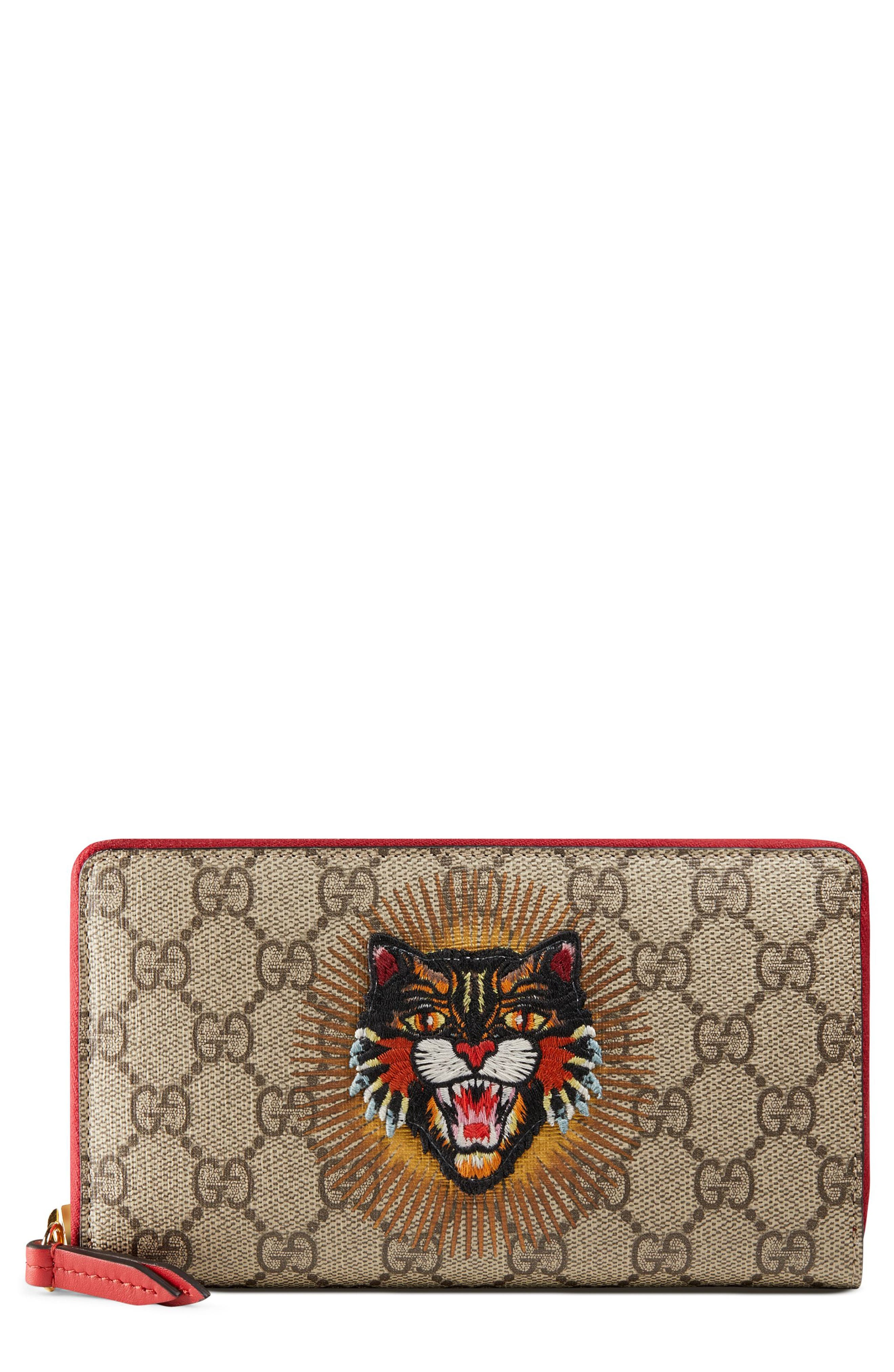 Gucci Embroidered Angry Cat GG Supreme Canvas Zip Around Wallet