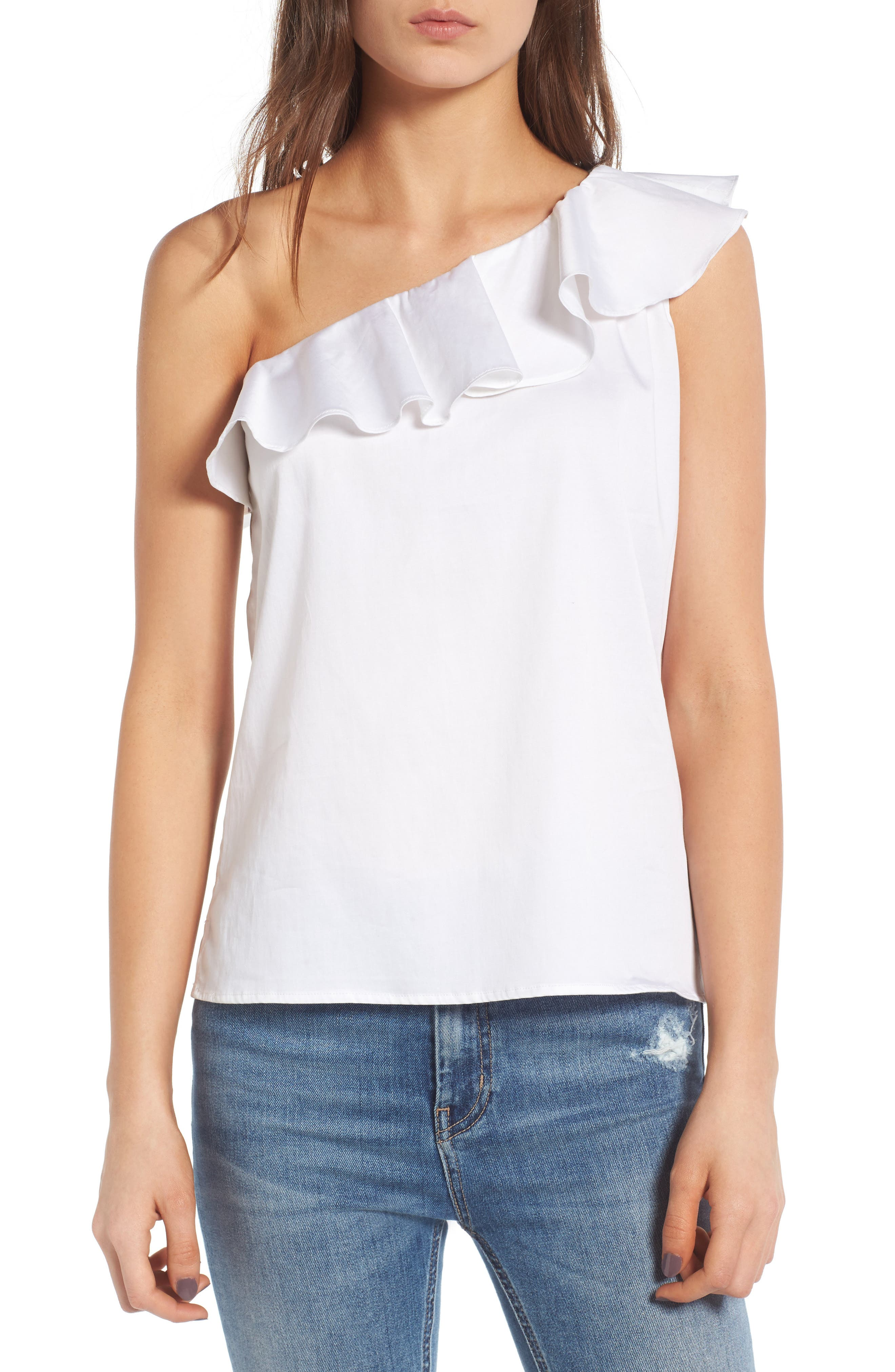 AG The Risa One-Shoulder Ruffle Top