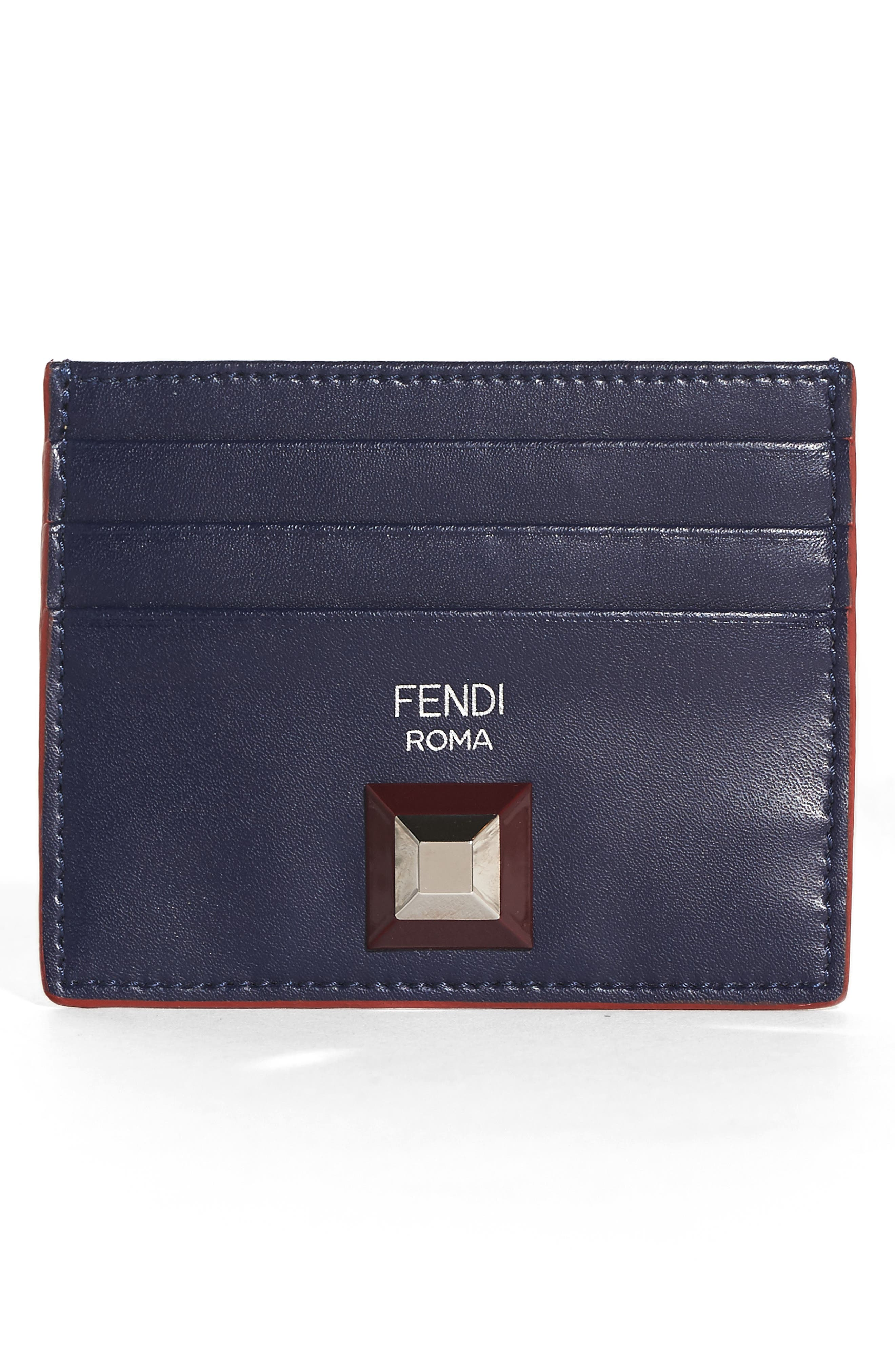 Fendi Rainbow Stud Leather Card Case